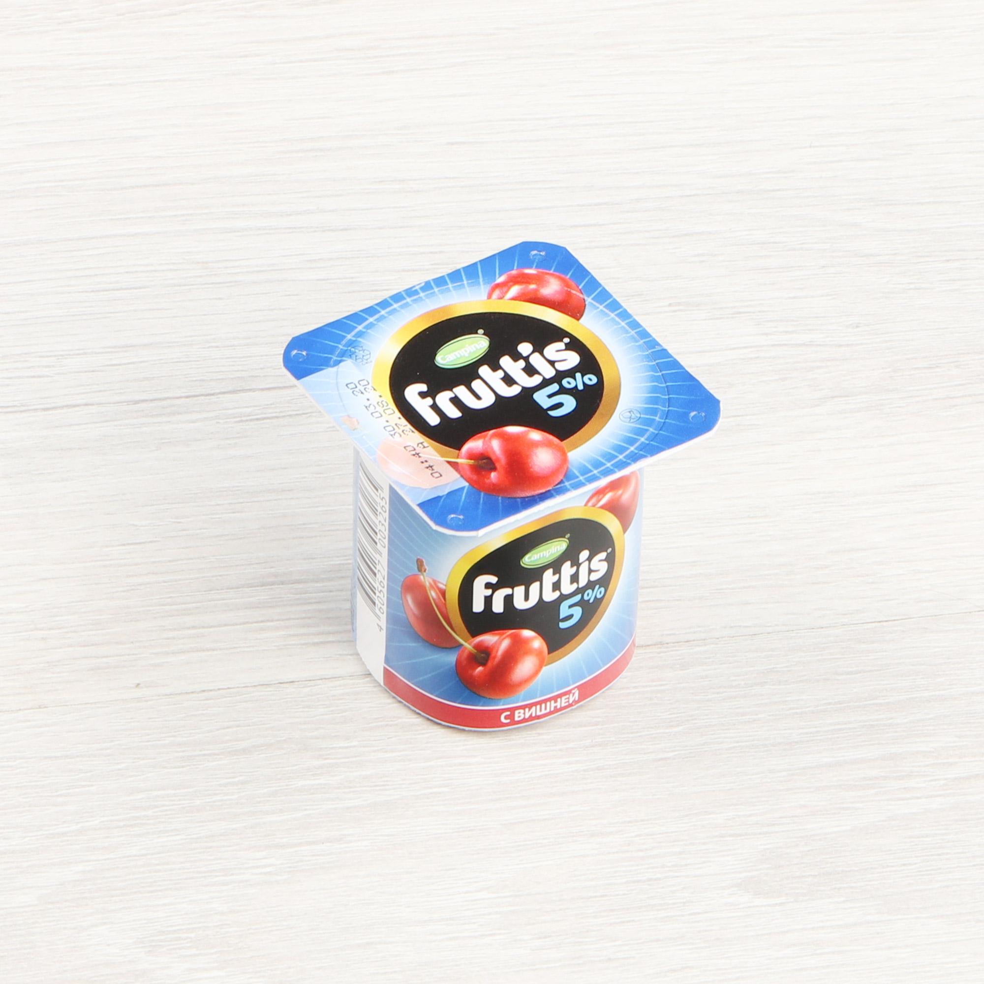 Фото - Йогурт Campina Fruttis Вишня, черника 5% 115 г йогурт campina fruttis легкий клубника 0 1% 110 г