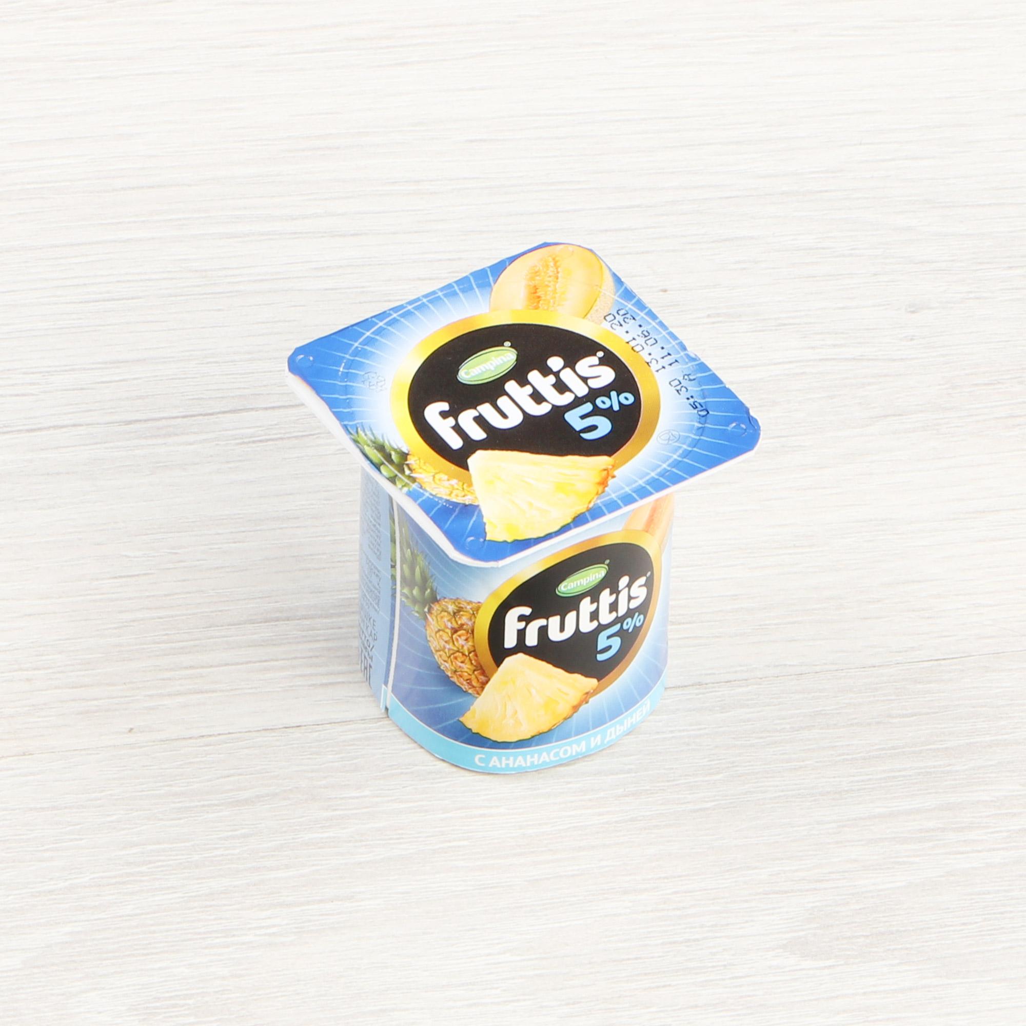 Фото - Йогурт Campina Fruttis Ананас, дыня 5% 115 г йогурт campina fruttis легкий клубника 0 1% 110 г