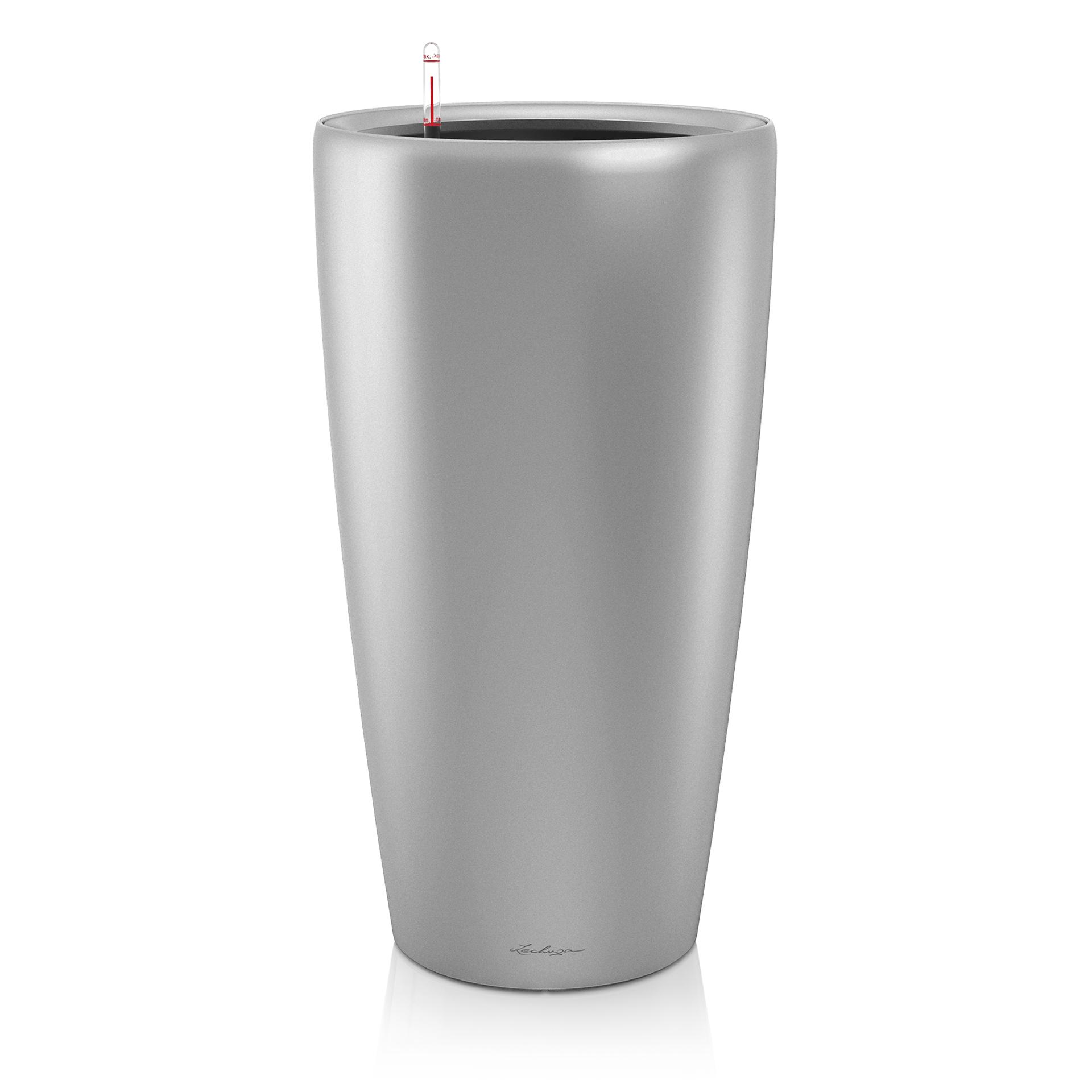 Кашпо с автополивом Lechuza Rondo серебро 40 см кашпо кубико альто 40 серебряное с автополивом 40х40х105см 18238 lechuza