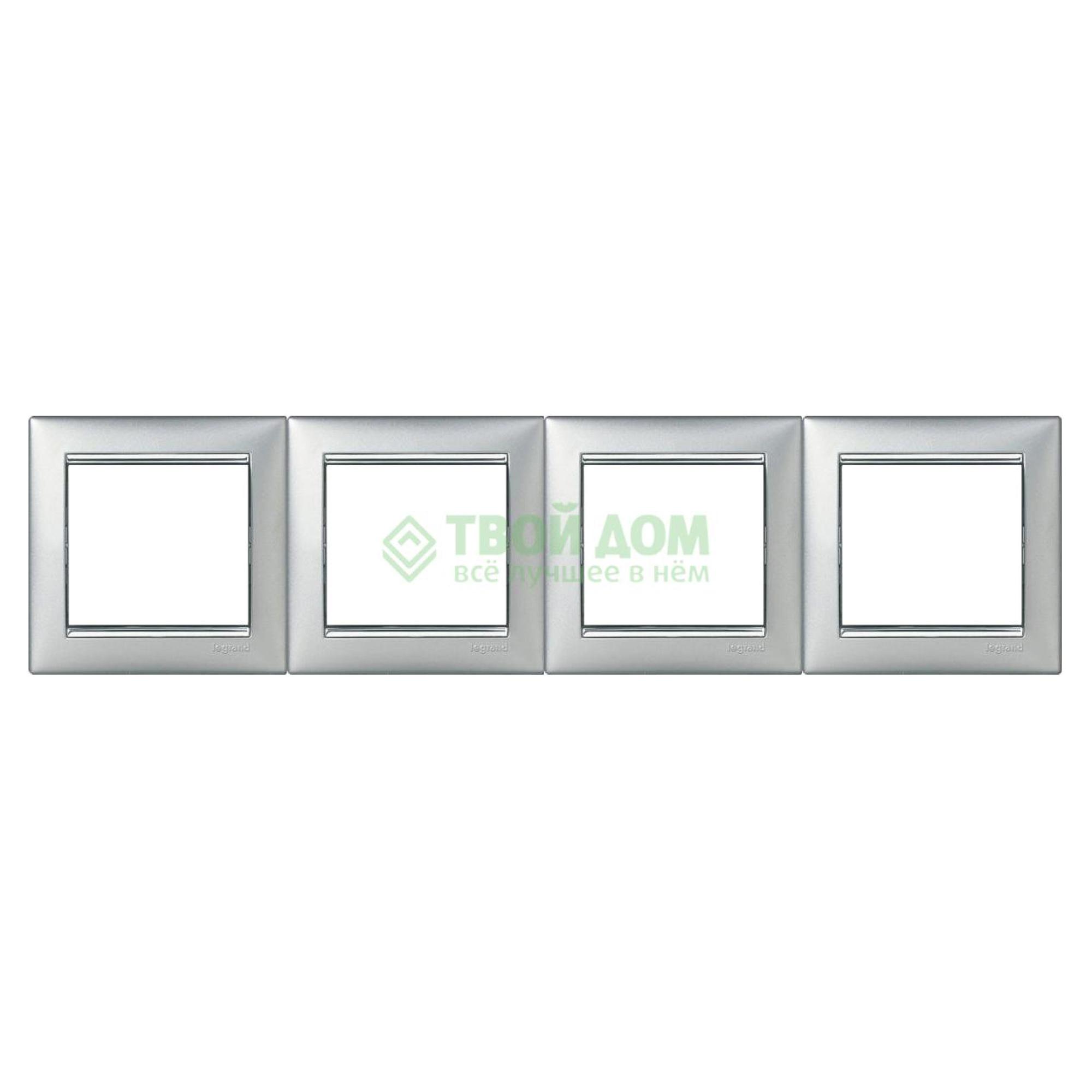 Монтажная рамка Legrand Valena 770354 алюминий/серебряный штрих фото