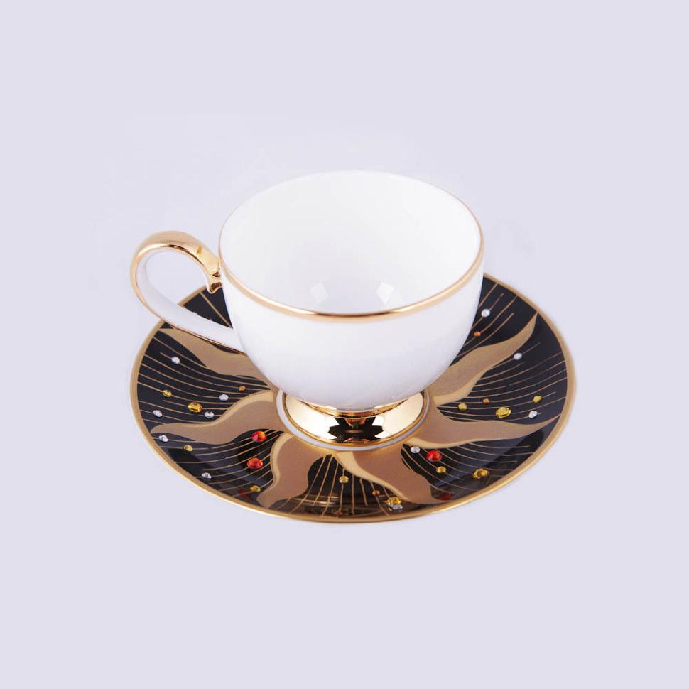 Фото - Пара кофейная Hankook/Prouna Дэй Блэк с кристаллами Swarovski чайный сервиз hankook prouna блэк палас с кристаллами swarovski 22 предмета