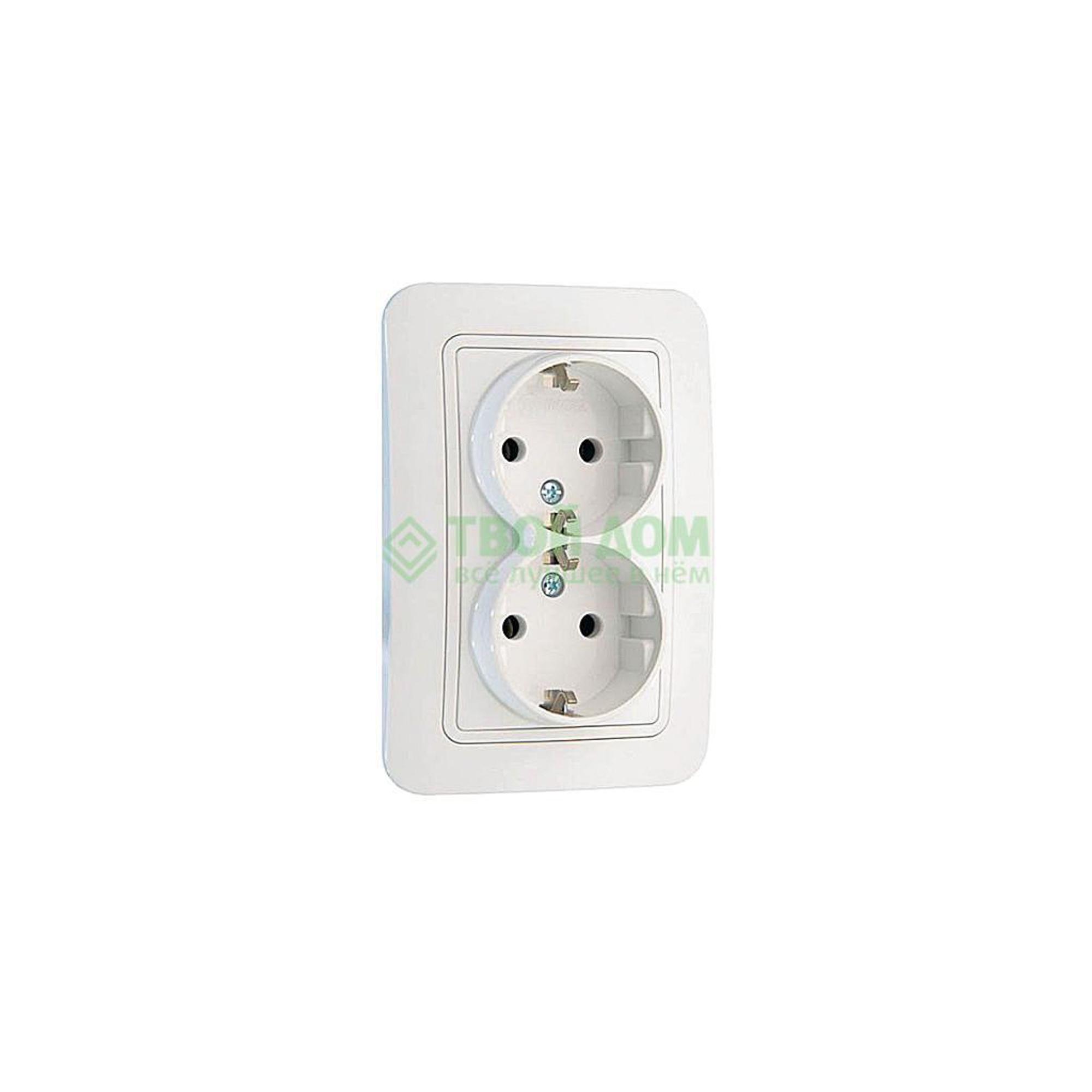 Розетка кабельного вывода Makel c/з двойная бел