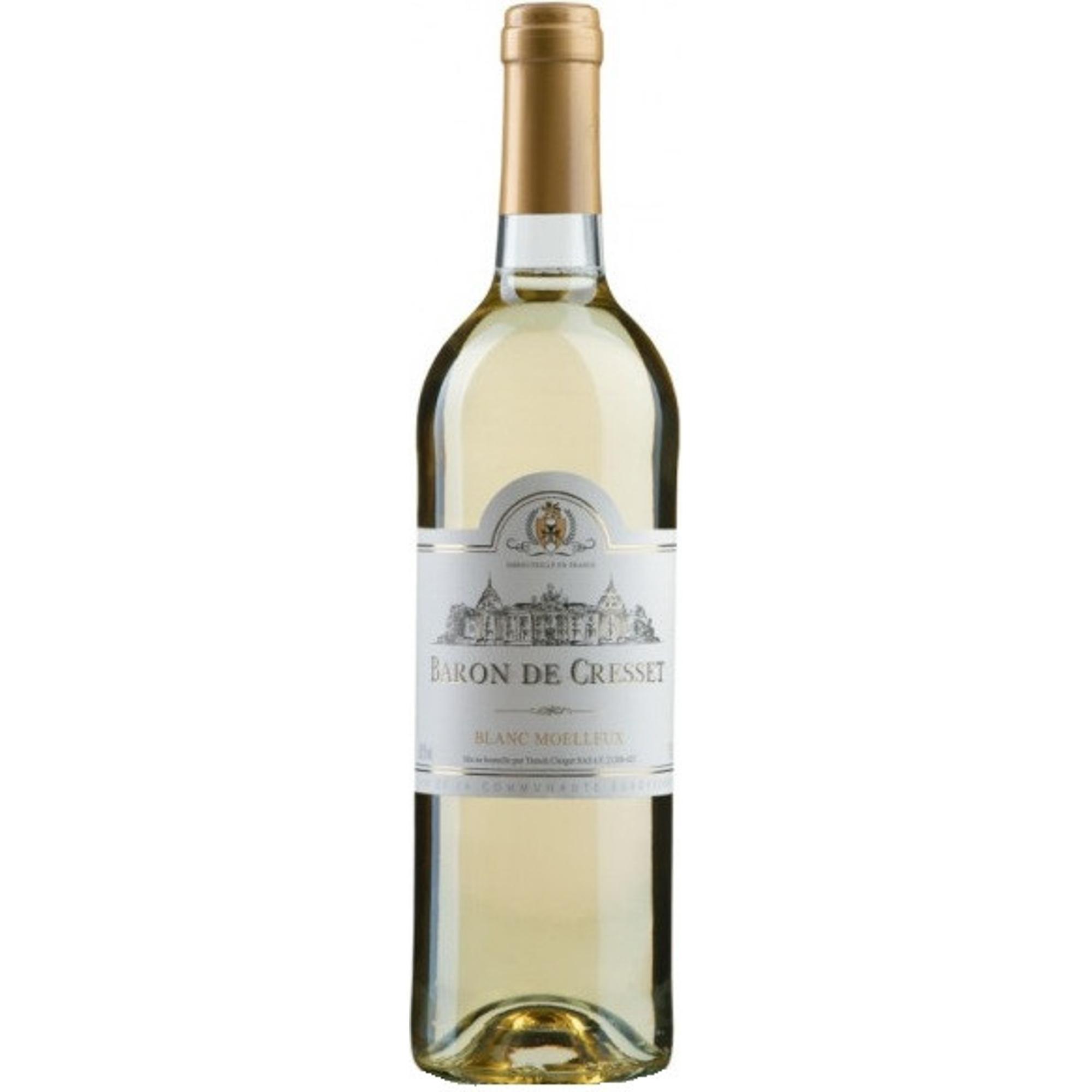 Купить Вино белое полусладкое Baron de Cresset Blanc Moelleux 0, 75 л, Франция, Золотисто-желтый