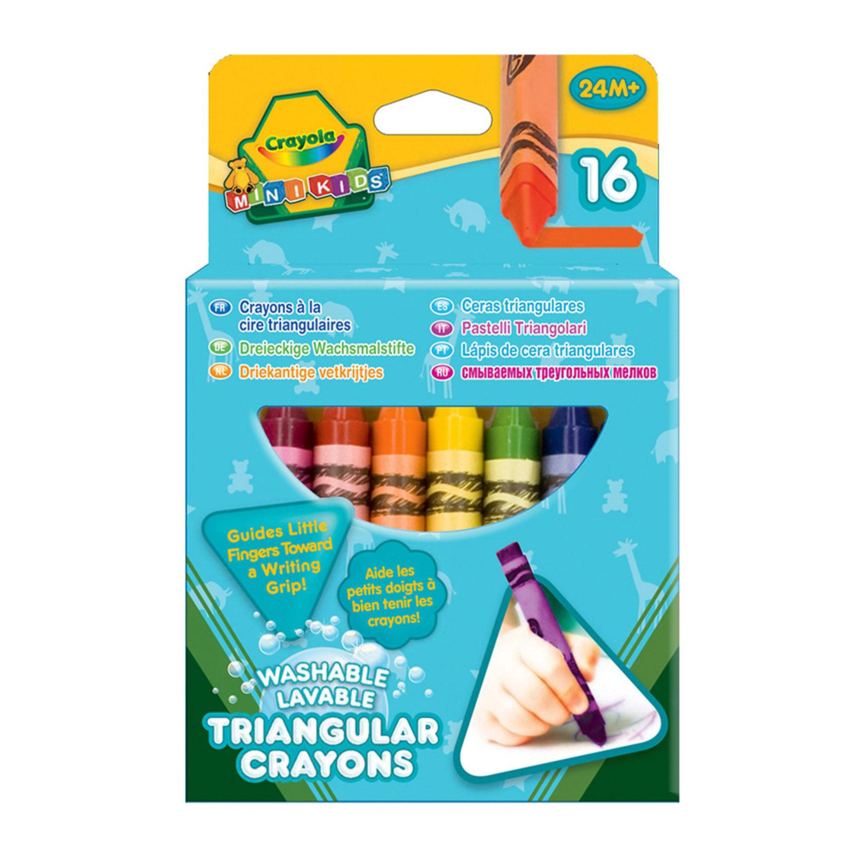 Crayola Мелки 16 смываемые треугольные восковые (52-016T).