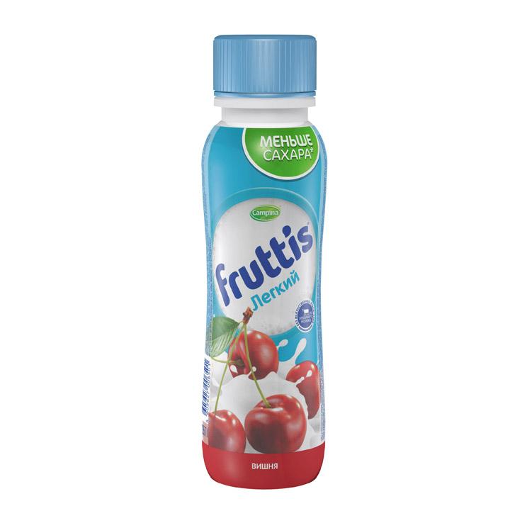 Фото - Напиток йогуртный Campina Fruttis Легкий с соком вишни 0,1% 285 г йогурт campina fruttis легкий клубника 0 1% 110 г