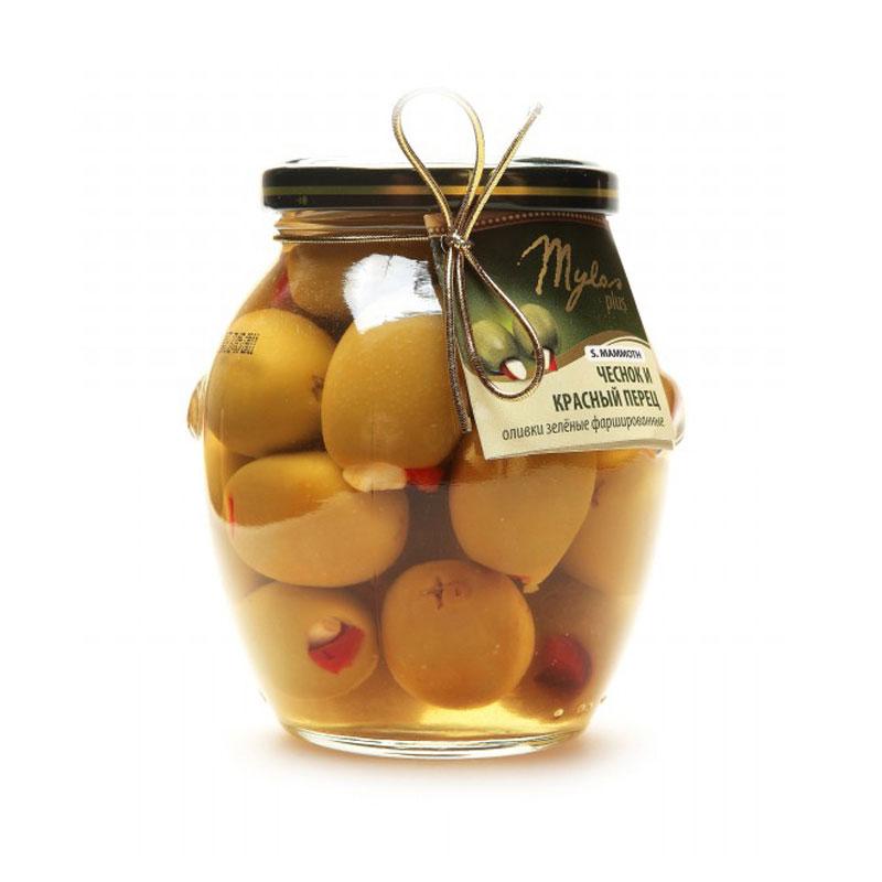 Оливки Mylos Plus Фаршированные чесноком и красным перцам 360 г