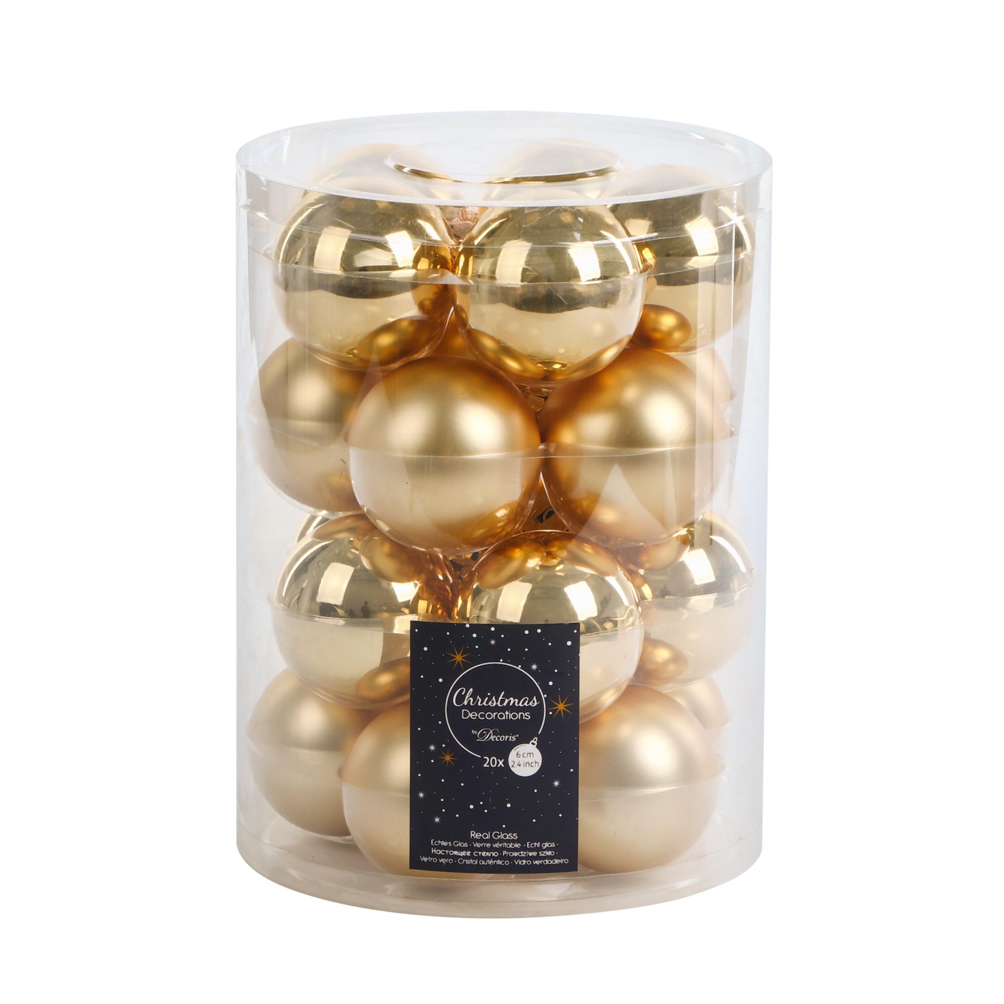Набор шаров на елку Kaemingk 6см 20шт золотой