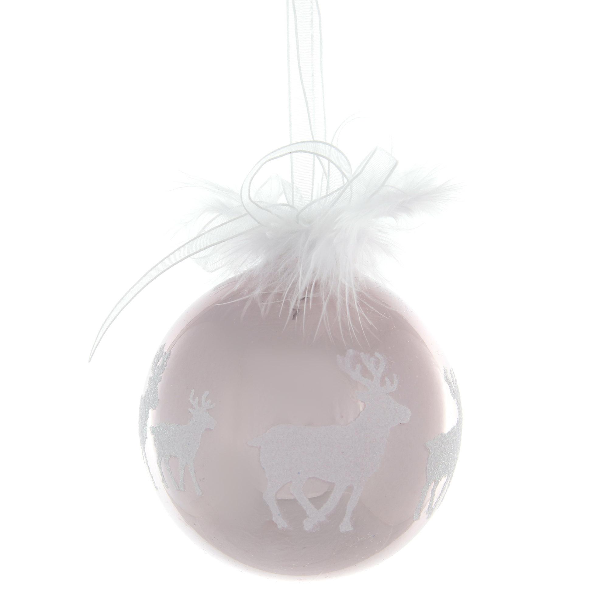 Шар бело-розовый Weiste с оленем 85 мм