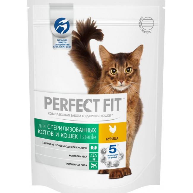 Корм для кошек Perfect Fit Sterile для кастрированных котов и стерилизованных кошек С курицей 190 г.