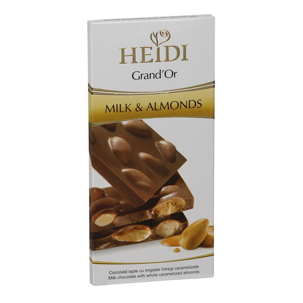 Шоколад Heidi молочный Гранд'ор с цельным миндалем в карамели 100 г