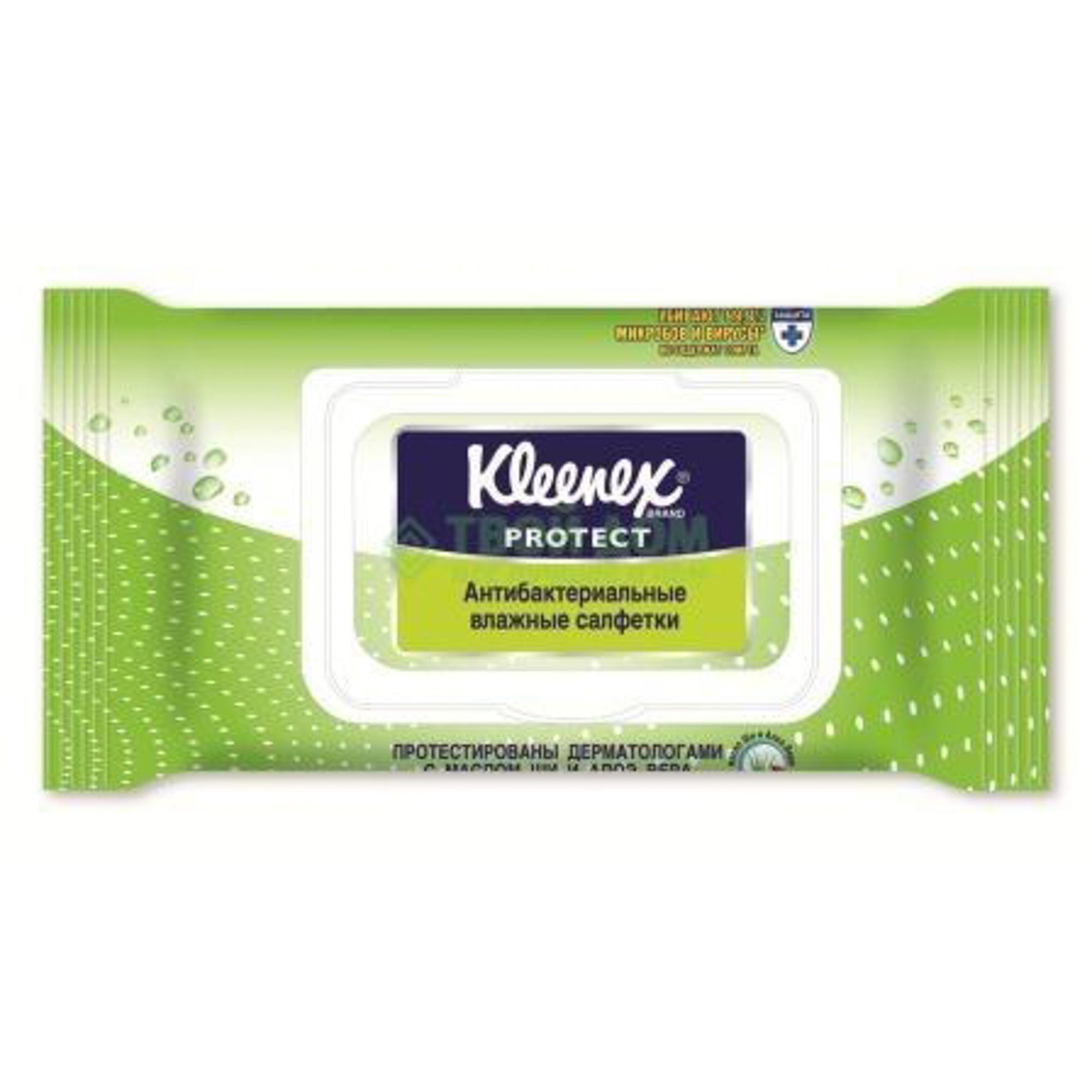 Купить Салфетки Kleenex Влажные Protect антибактериальные (с крышкой) (9440100), Корея, полиэстер, Средства по уходу за телом и за кожей лица для детей