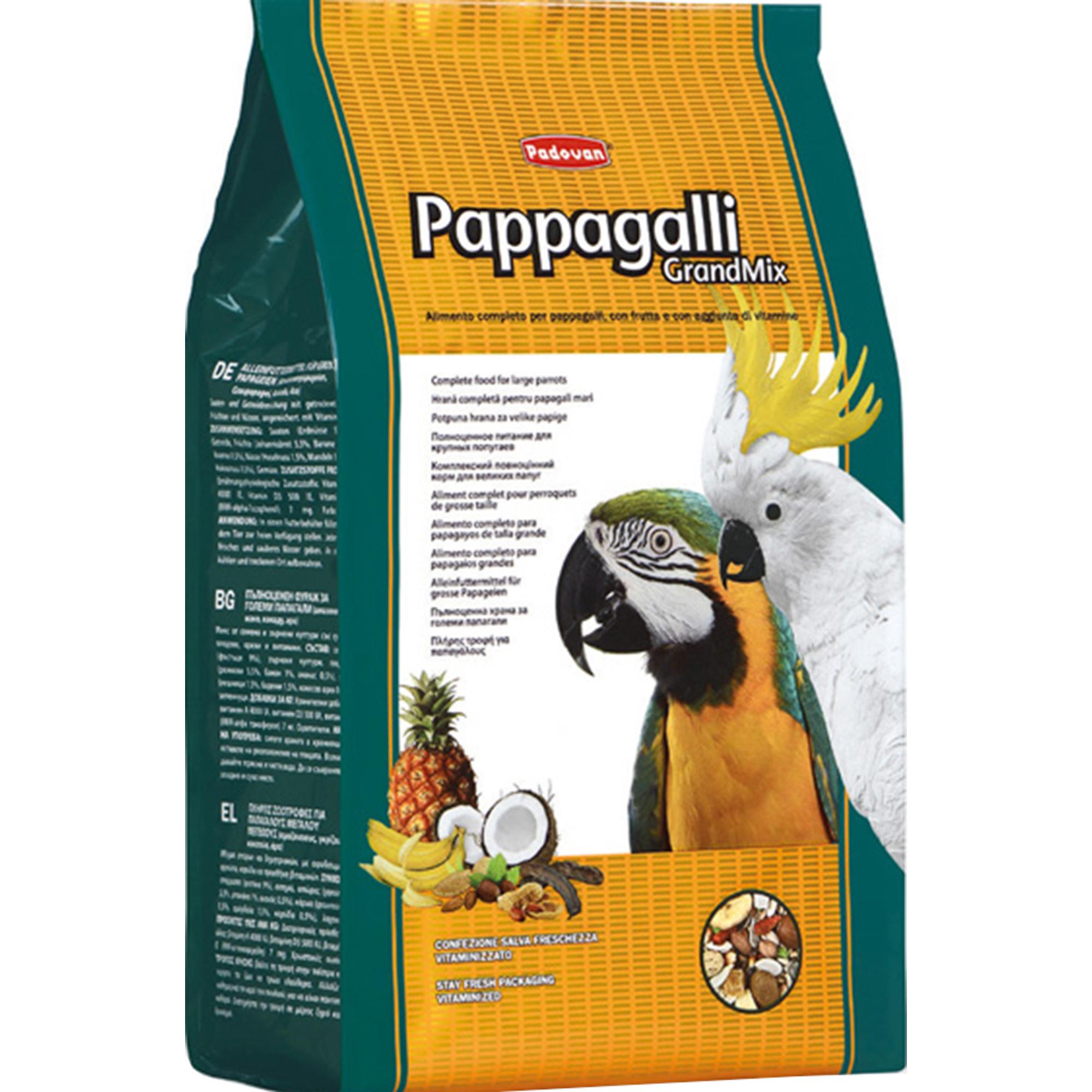 Корм для птиц PADOVAN Grandmix Pappagalli для крупных попугаев комплексный 2кг