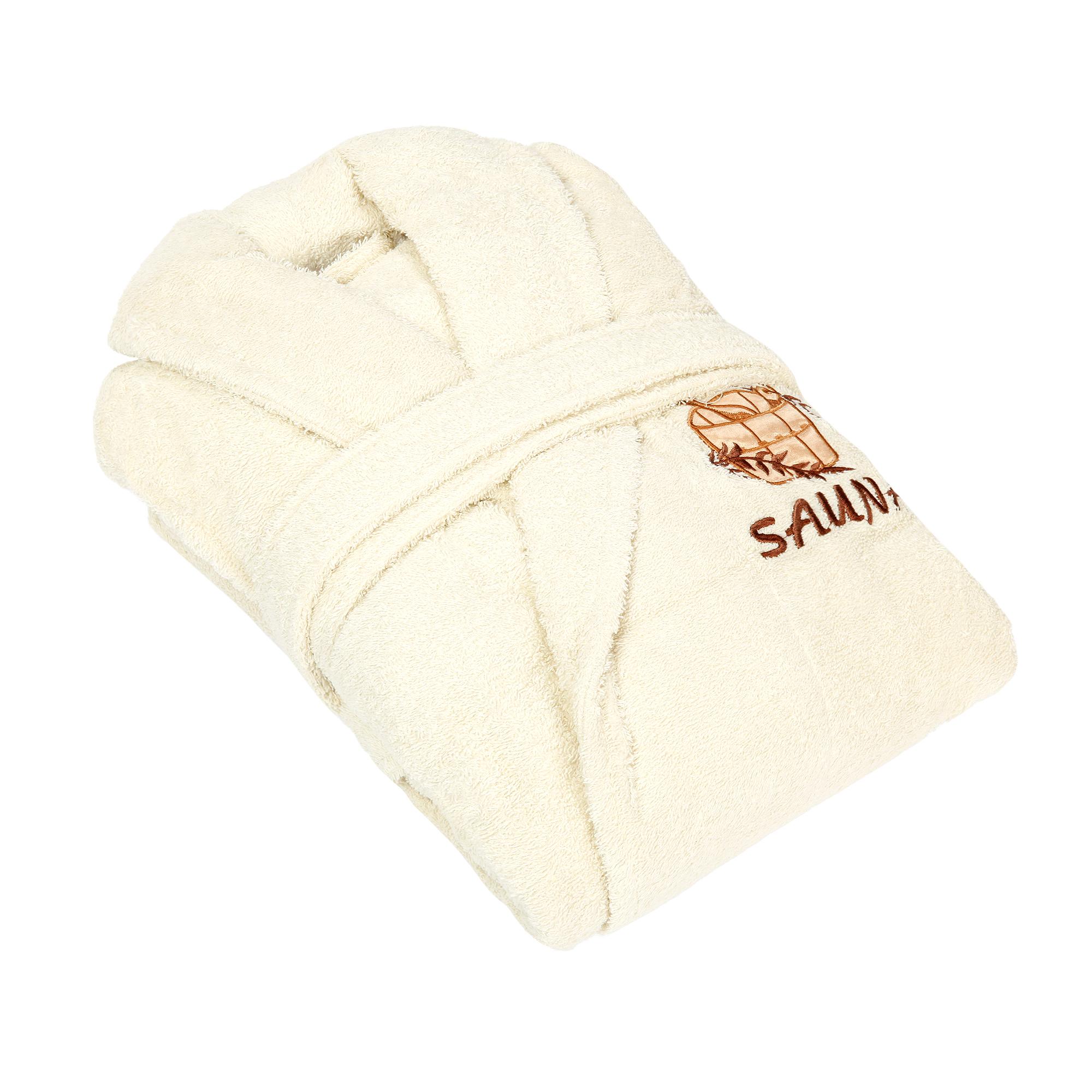 Халат женский Asil sauna beige xl махрый с воротником