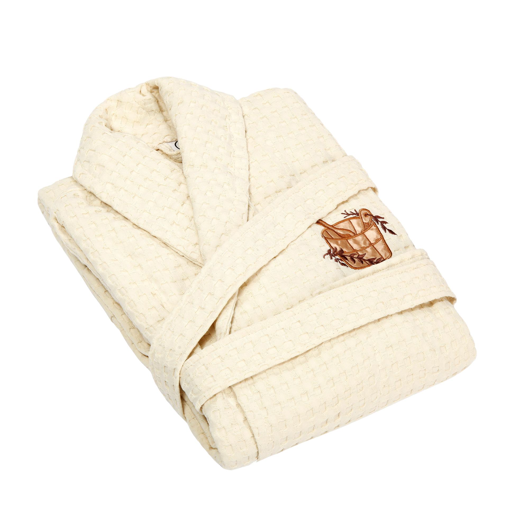 Халат женский Asil sauna beige xl вафельный с воротником