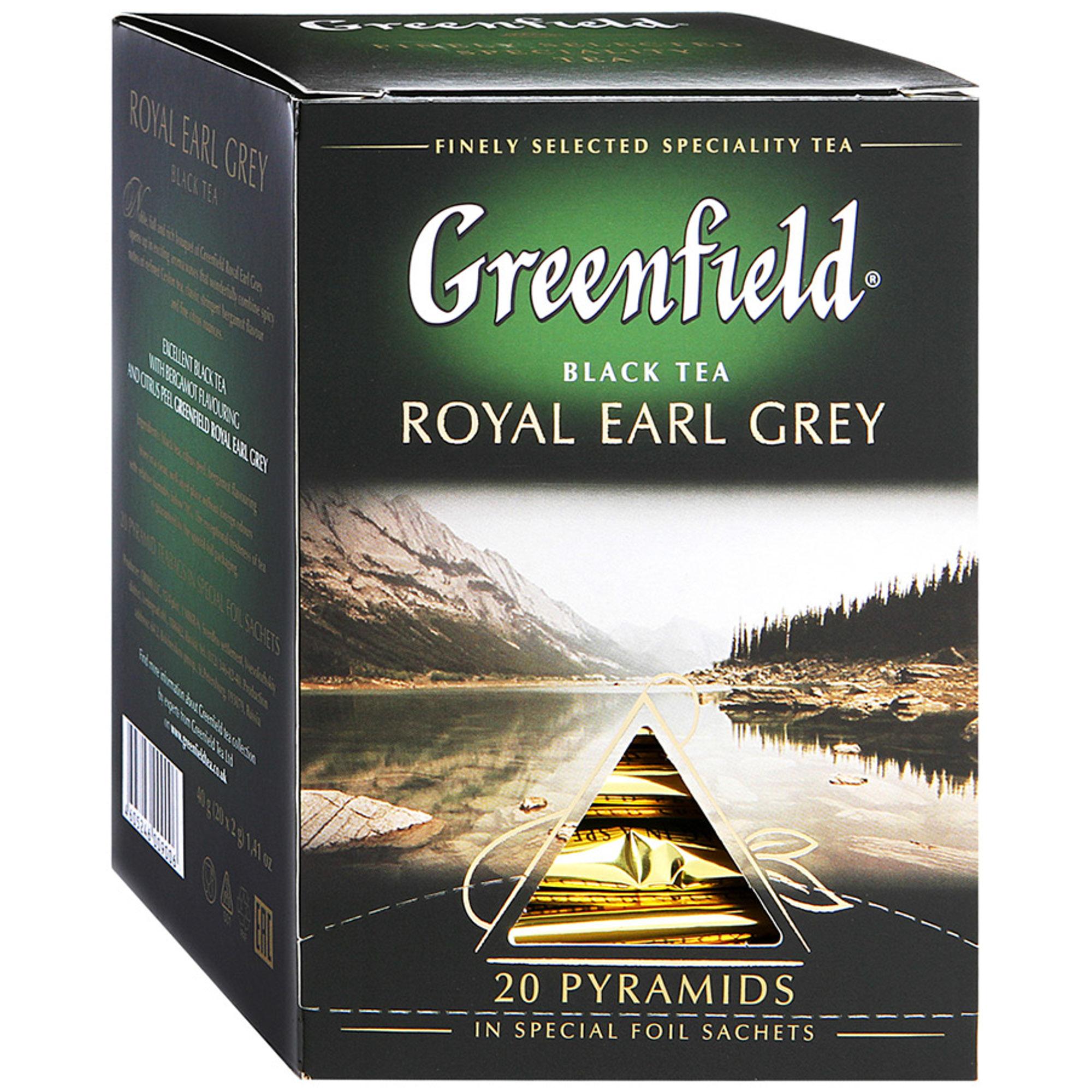 Чай черный Greenfield Royal Earl Grey с бергамотом 20 пакетиков чай черный lipton earl grey с бергамотом 25 пакетиков