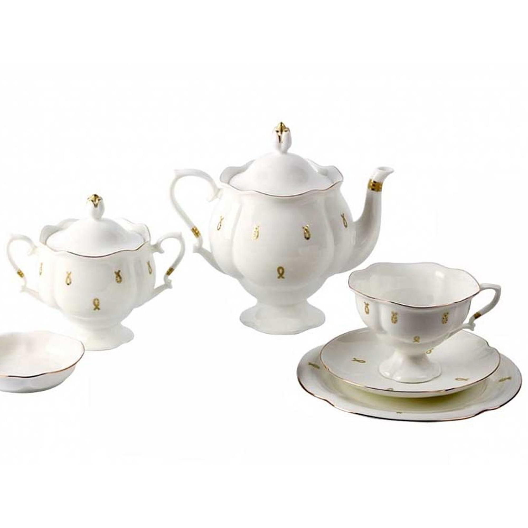 Сервиз чайный ЛФЗ, форма Наташа - петельки, 6 персон, 20 предметов фото