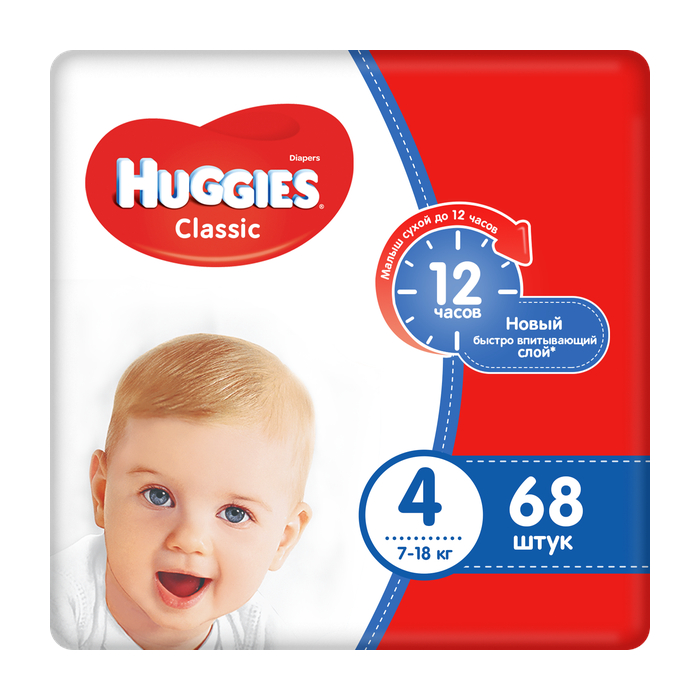 Купить Подгузники Huggies Classic 4 (7-18 кг) 68 шт, Для детей,