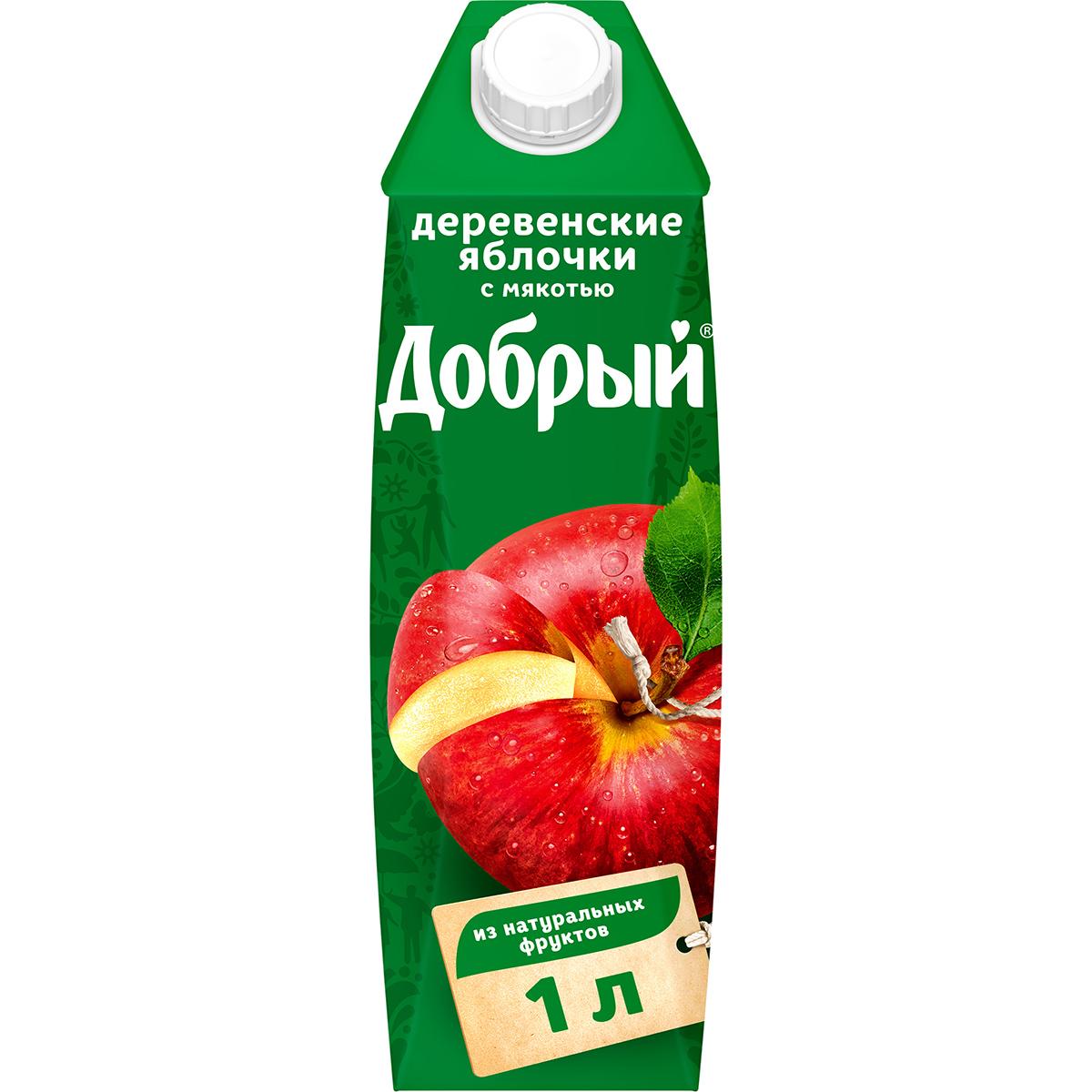 Нектар Добрый Деревенские яблочки с мякотью 1 л