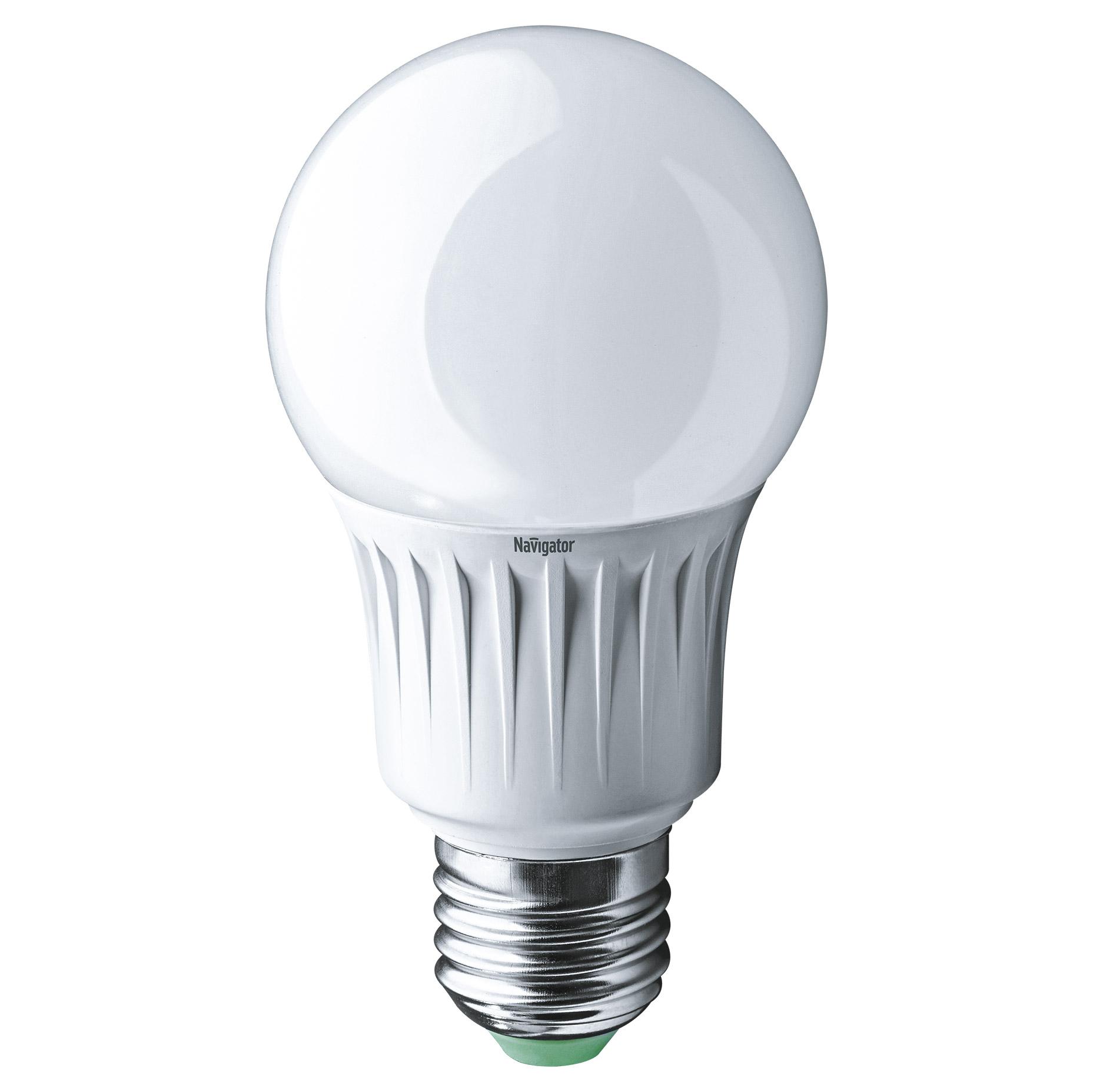 Фото - Лампа светодиодная Navigator груша матовая 10Вт цоколь E27 (холодный свет) лампа люминесцентная navigator t5 6вт цоколь g5 холодный свет