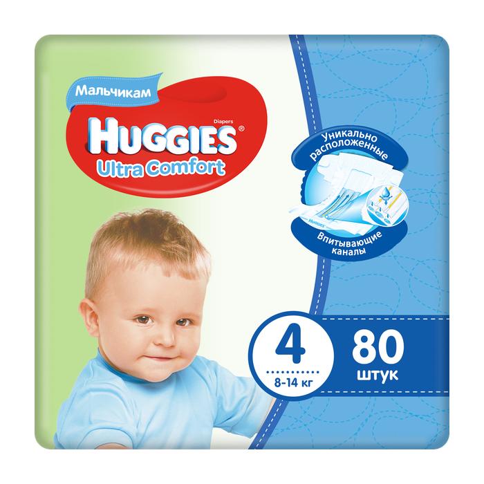 Купить Подгузники Huggies Ultra Comfort для мальчиков 4 (8-14 кг) 80 шт, Для мальчиков,