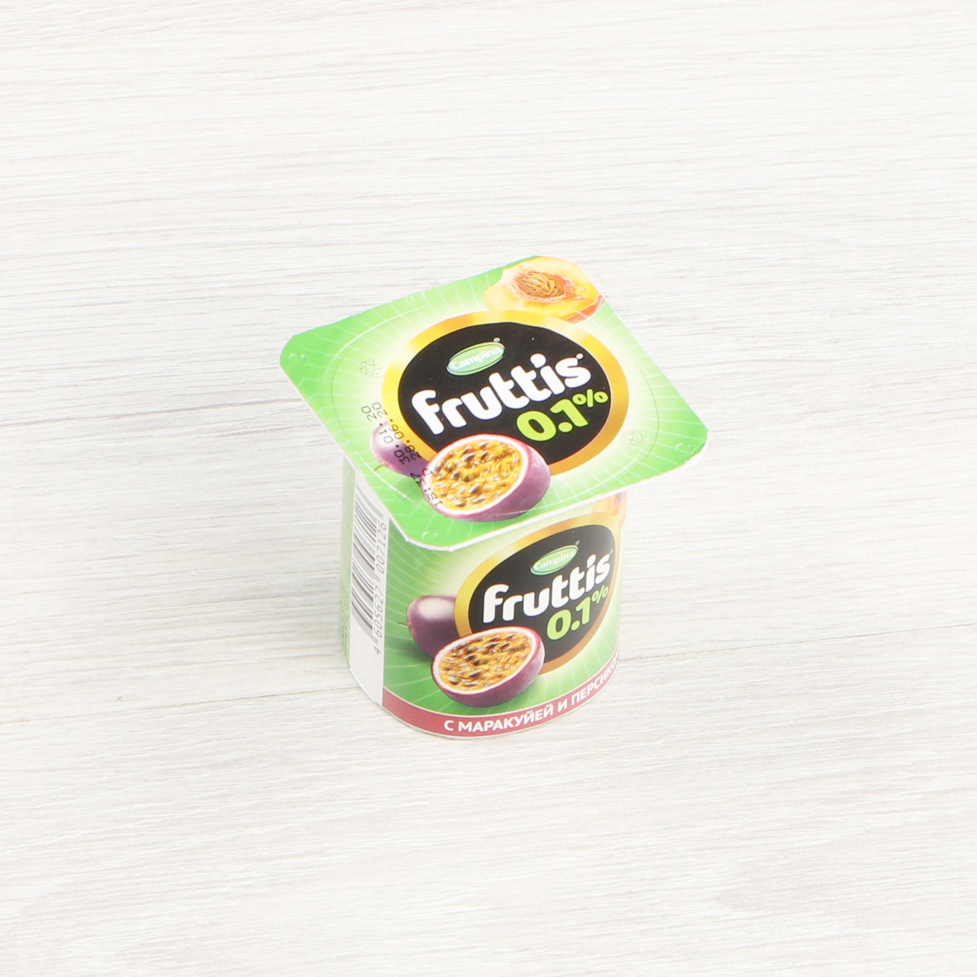 Фото - Йогурт Campina Fruttis Легкий Вишня, персик, маракуйя 0,1% 110 г йогурт campina fruttis легкий клубника 0 1% 110 г