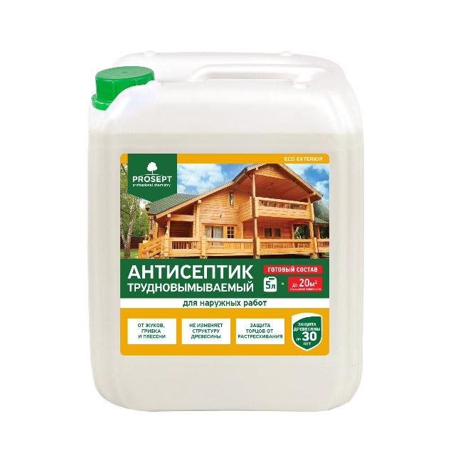 Антисептик для наружных работ Prosept Eco Exterior 5 л спрей prosept universal hard для очистки каминных стекол от сажи и копоти 0 5 л