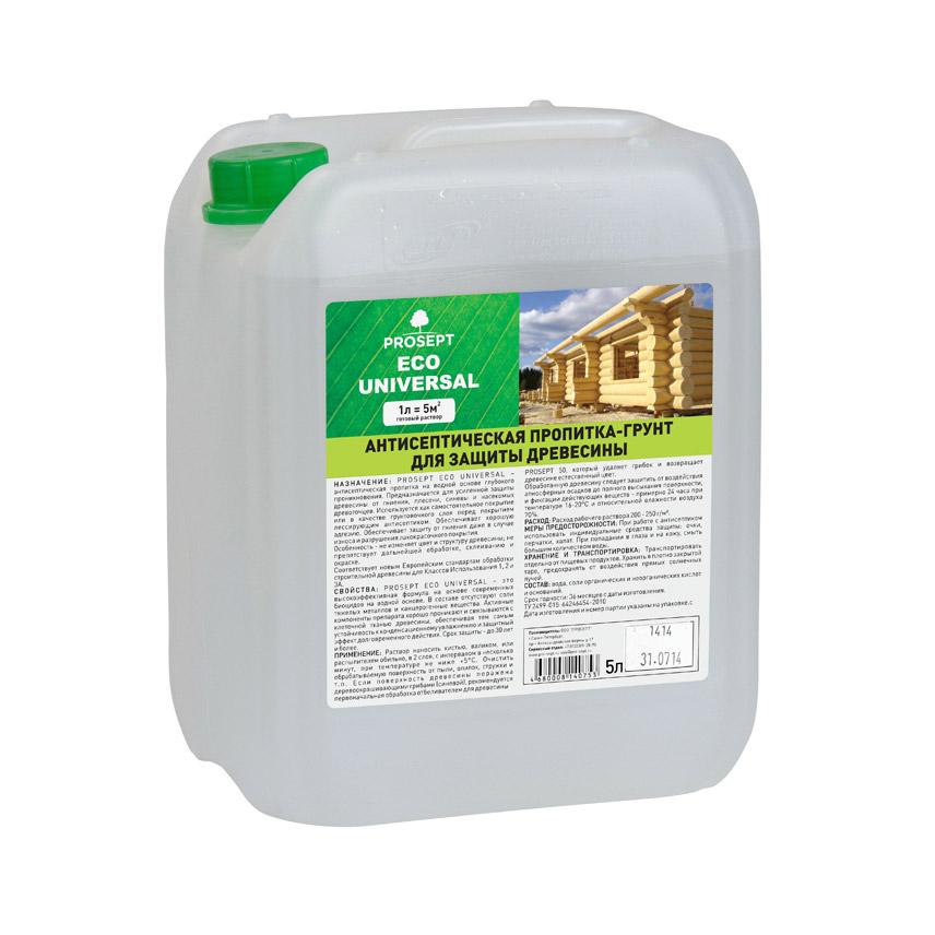 Антисептический грунт для древесины Prosept Eco Universal 5 л спрей prosept universal hard для очистки каминных стекол от сажи и копоти 0 5 л