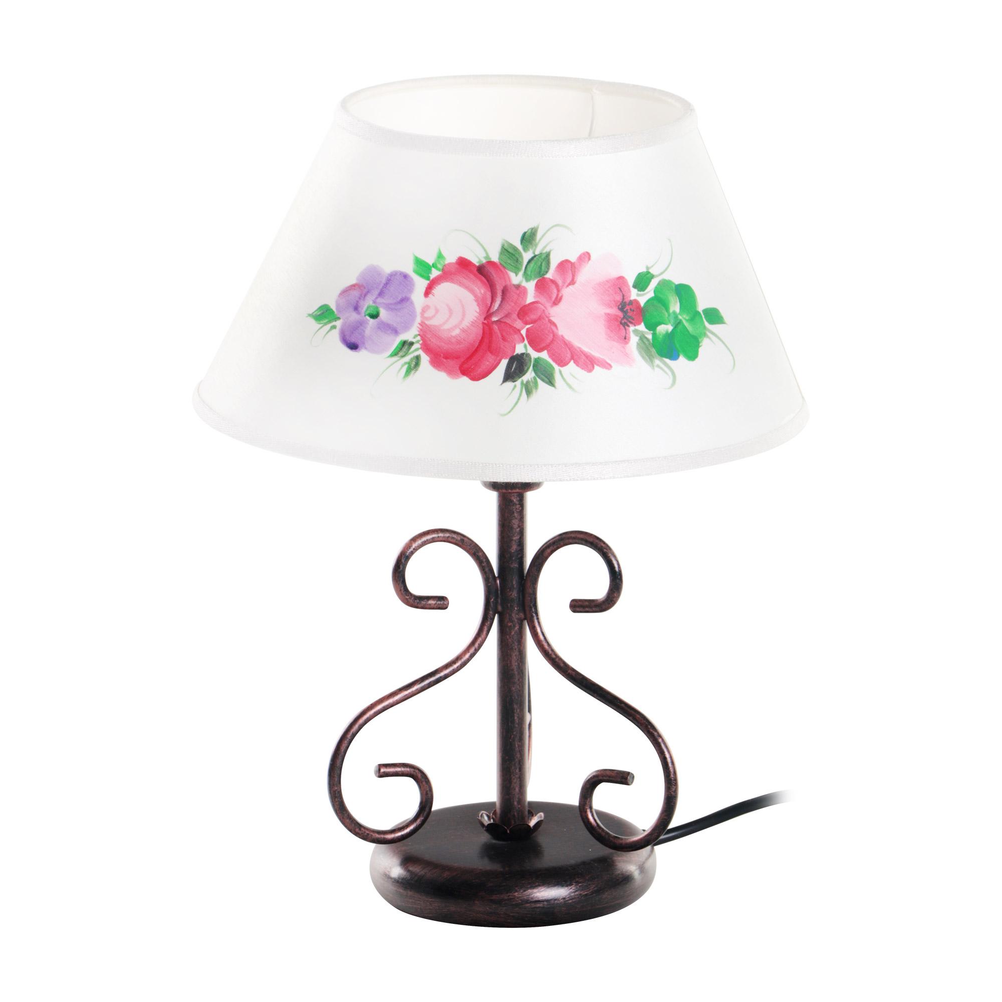 Лампа настольная с шелковым абажуром на одну лампу Ferroluce
