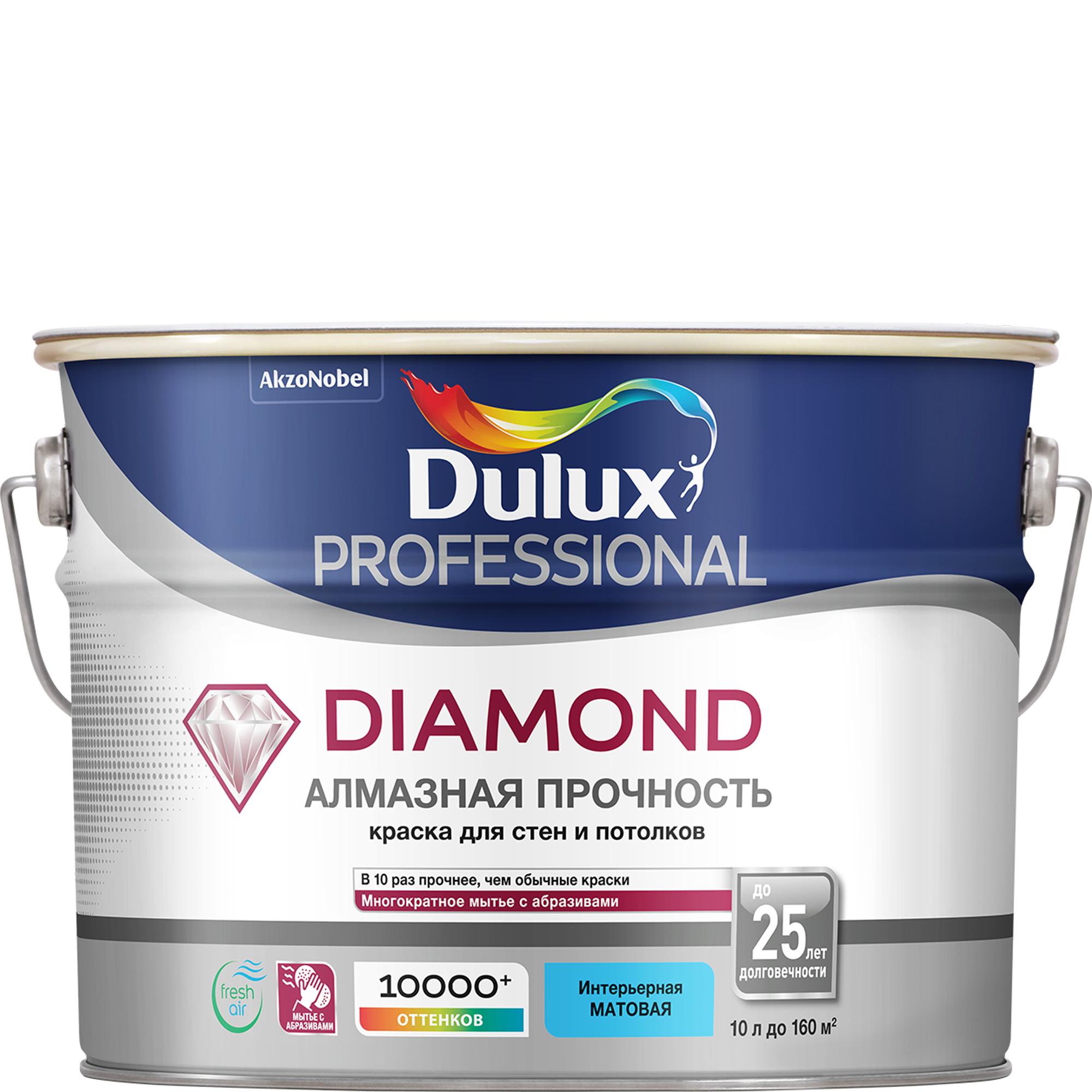 Купить Краска Dulux Diamond Matt белая 10л, краска, Великобритания, белый