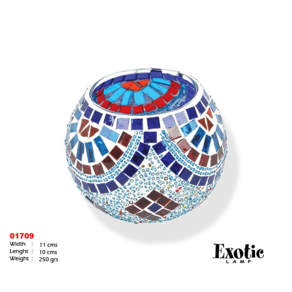 Подсвечники Exotic мозайка 01709 синяя