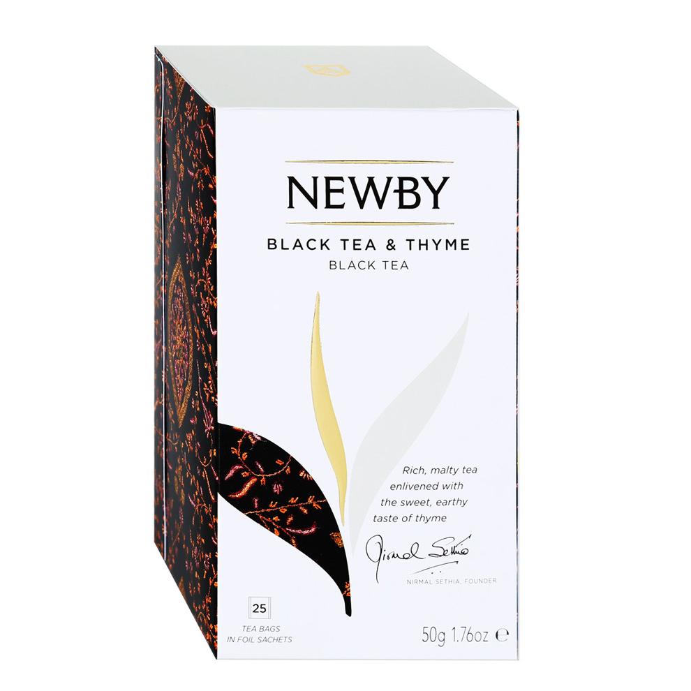 Чай черный Newby Black Tea&Thyme с чабрецом 25 пакетиков чай черный newby с чабрецом листовой 100 г