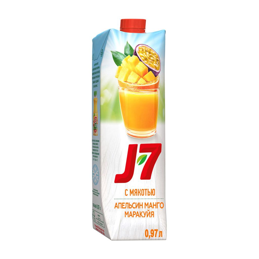 Фото - Нектар J7 Апельсин-Манго-Маракуйя с мякотью 0,97 л j7