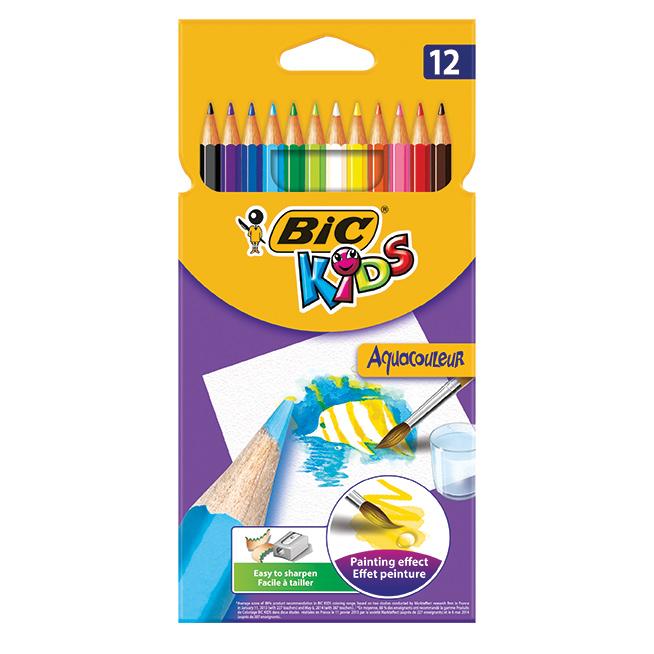 Цветные карандаши BIC Aquacouleur 12 цветов.