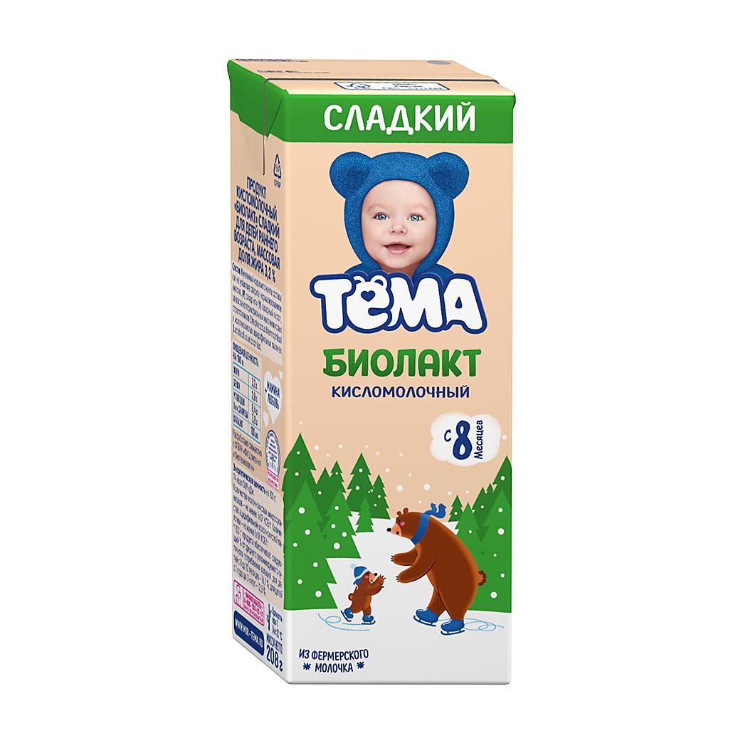Фото - Продукт кисломолочный Тёма Биолакт с 8 месяцев 3,2% 208 г биолакт кисломолочный фрутоняня детский сладкий 3 2