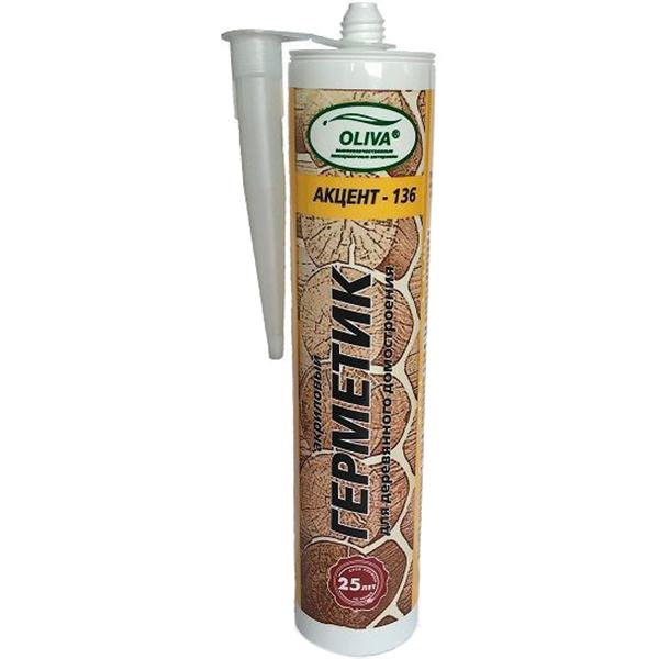 Купить Герметик Oliva Акцент-136 сосна 310 мл, акриловый, Россия, светло-коричневый
