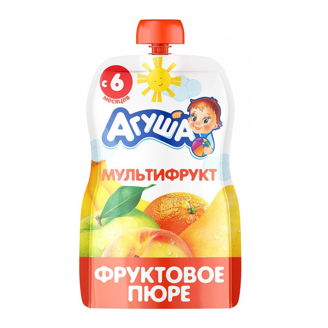 Фото - Пюре фруктовое Агуша Мультифрукт 90 г пюре фруктовое агуша груша 200 г