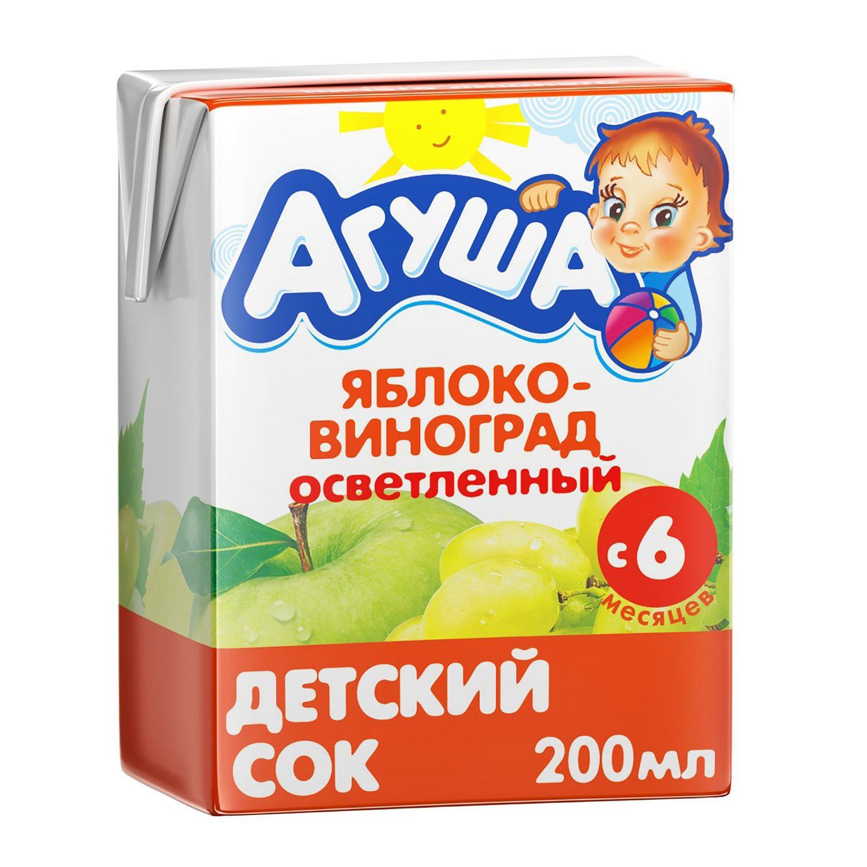 Сок Агуша яблоко-виноград осветленный с 6-ти месяцев 200 мл