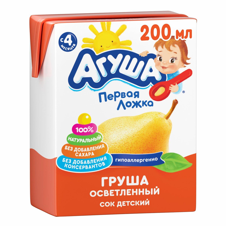 Сок Агуша яблоко-груша осветленный с 4-ех месяцев 200 мл компот агуша курага изюм яблоко с 3 ех лет 500 мл