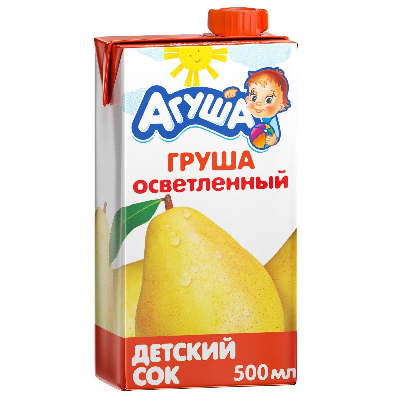 Сок Агуша груша осветленный с 3-х лет 500 мл компот агуша курага изюм яблоко с 3 ех лет 500 мл