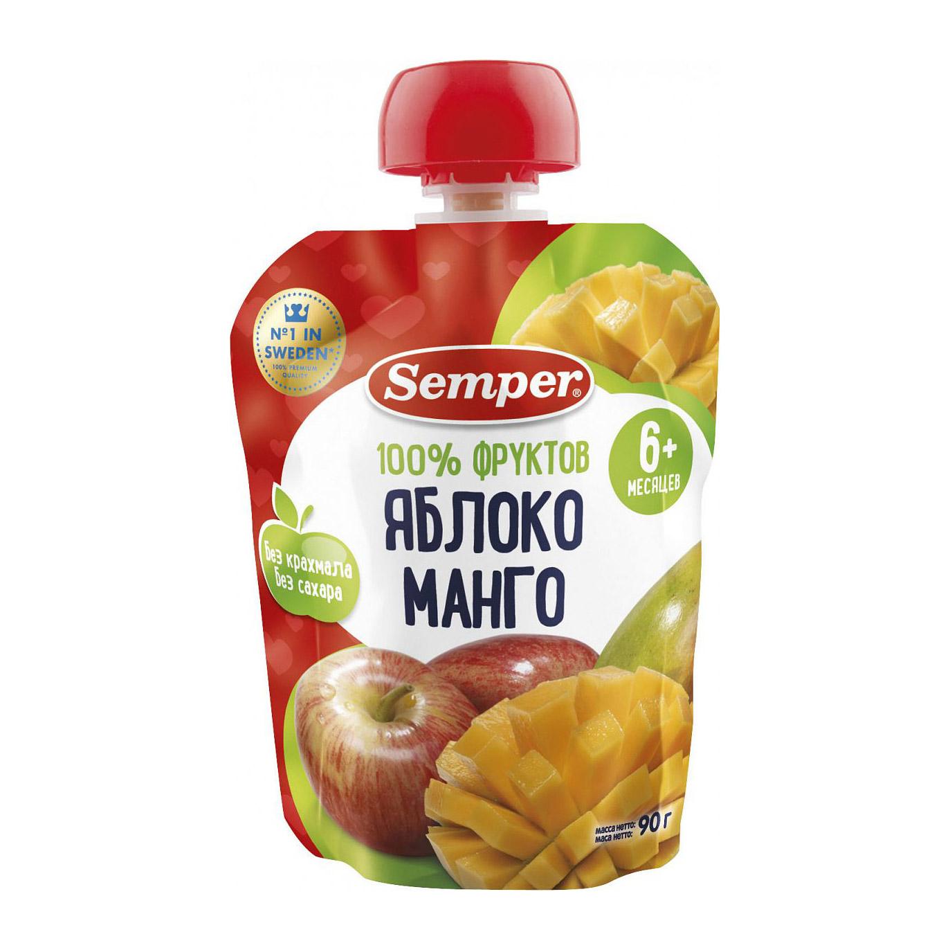 Пюре фруктовое Semper Яблоко и манго 90 г