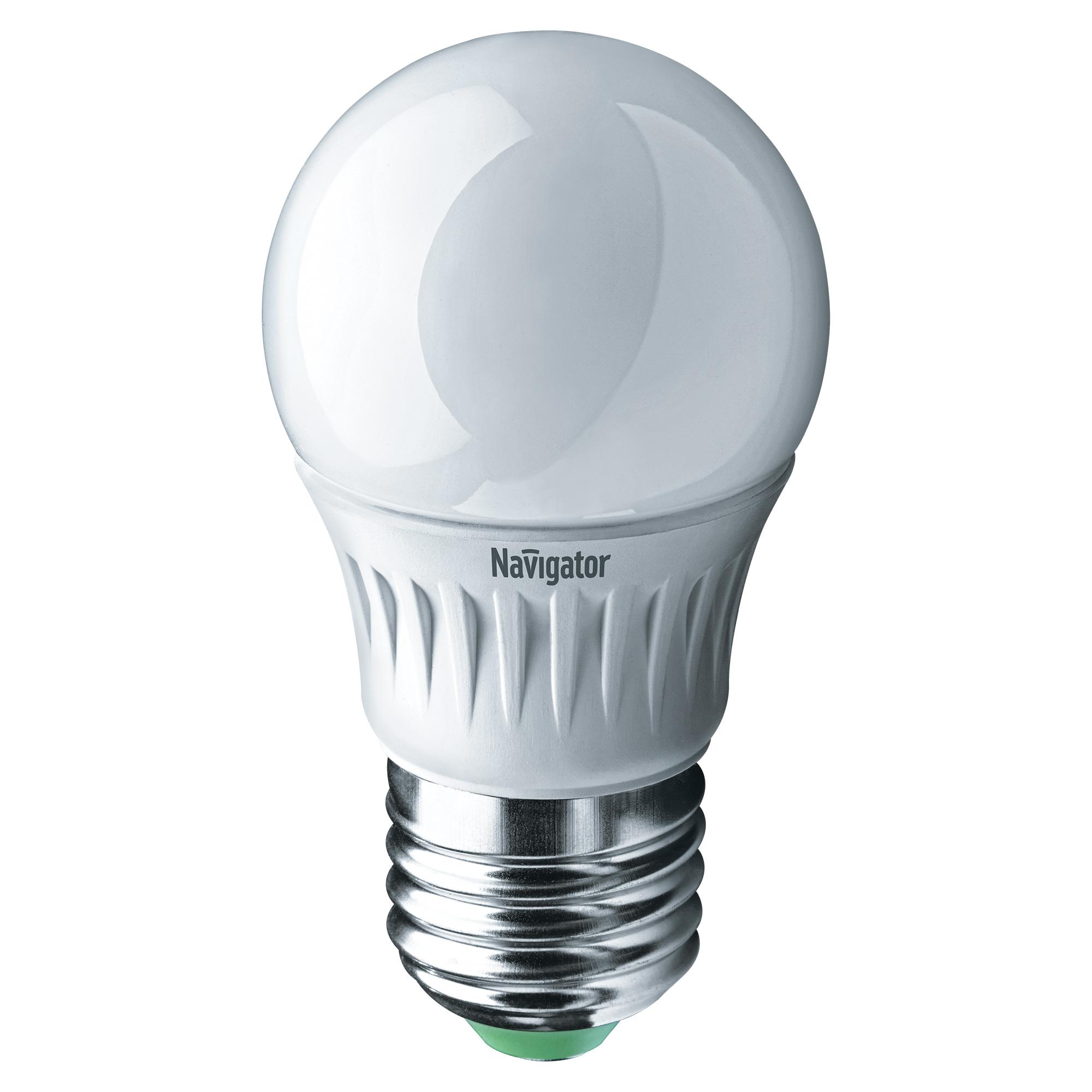 Фото - Лампа светодиодная Navigator шарик матовая 7Вт цоколь E27 (холодный свет) лампа люминесцентная navigator t5 6вт цоколь g5 холодный свет