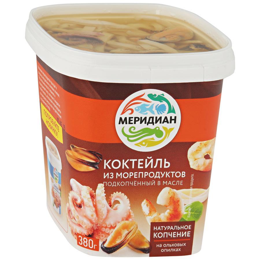 Коктейль из морепродуктов Меридиан подкопченный в масле, 380 г коктейль из морепродуктов меридиан подкопченный в масле 380 г