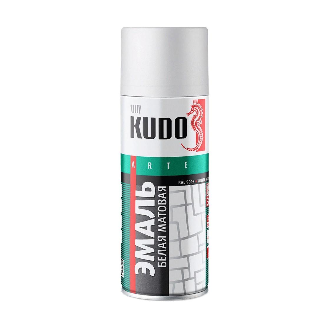 Эмаль Kudo универсальная белая матовая 520 мл эмаль аэрозольная kudo 1026 универсальная 520 мл серебро арт эк000013304