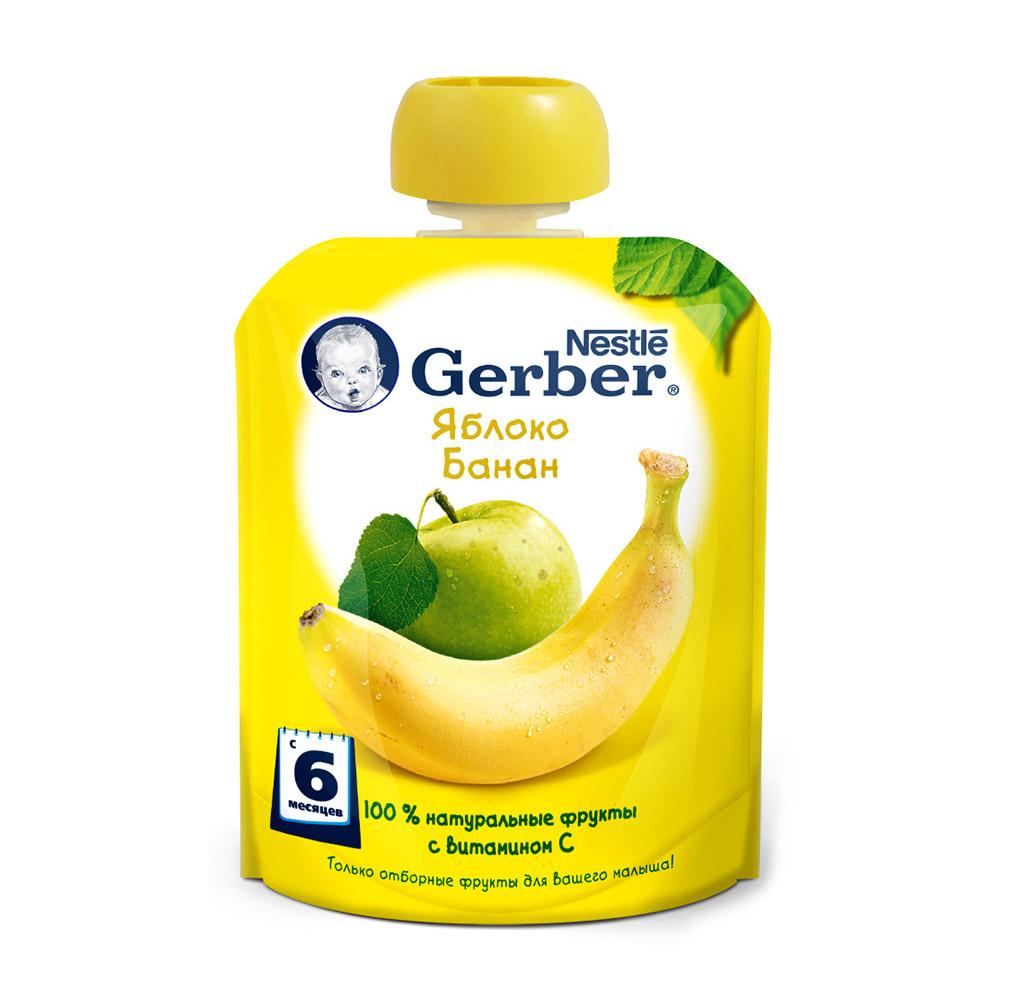 Фото - Пюре фруктовое Gerber Яблоко-Банан 90 г пюре gerber organic банан манго злаки йогурт с 8 мес 90 г
