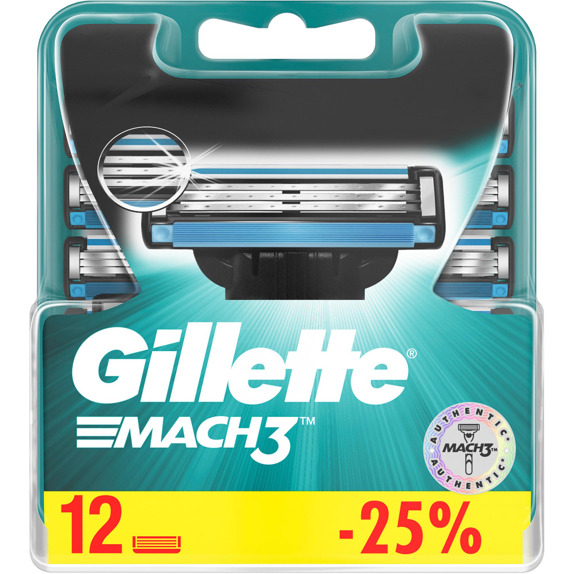 Фото - Сменные кассеты для бритья Gillette Mach3 12 шт gillette mach 3 turbo сменные кассеты для бритья n4 1 шт gillette бритвы и лезвия