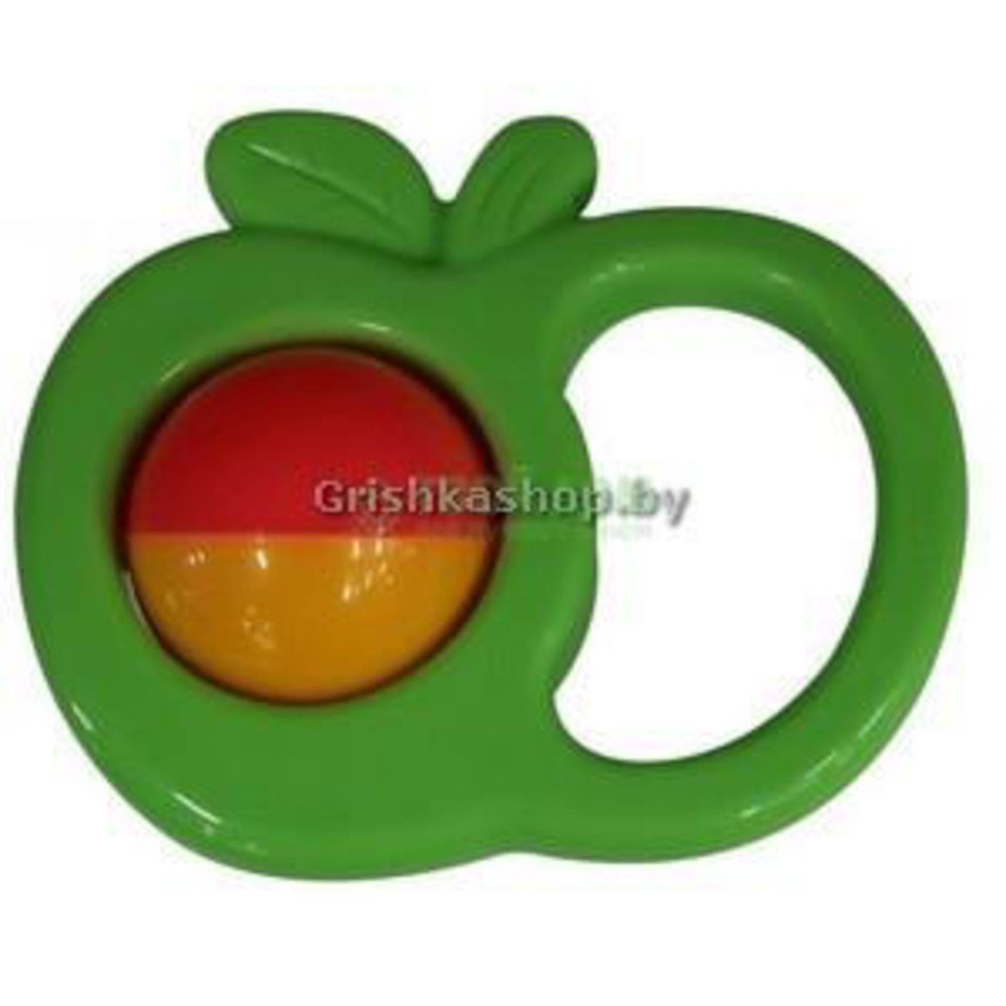 Купить Погремушка Полесье Погремушка яблоко, Беларусь, зеленый, желтый, красный, пластик, Игрушки для новорожденных