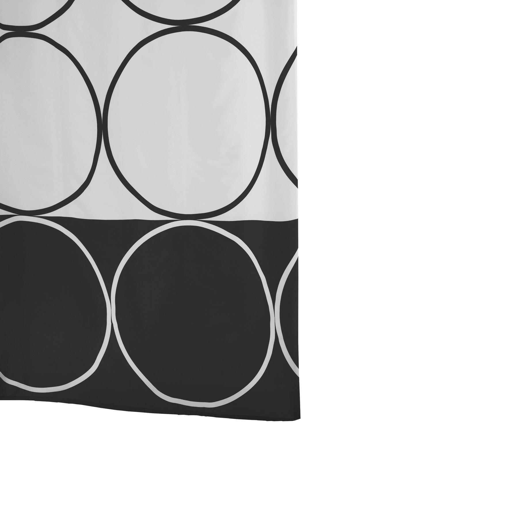Штора для ванной комнаты Ridder circle черн. Ткан180х200