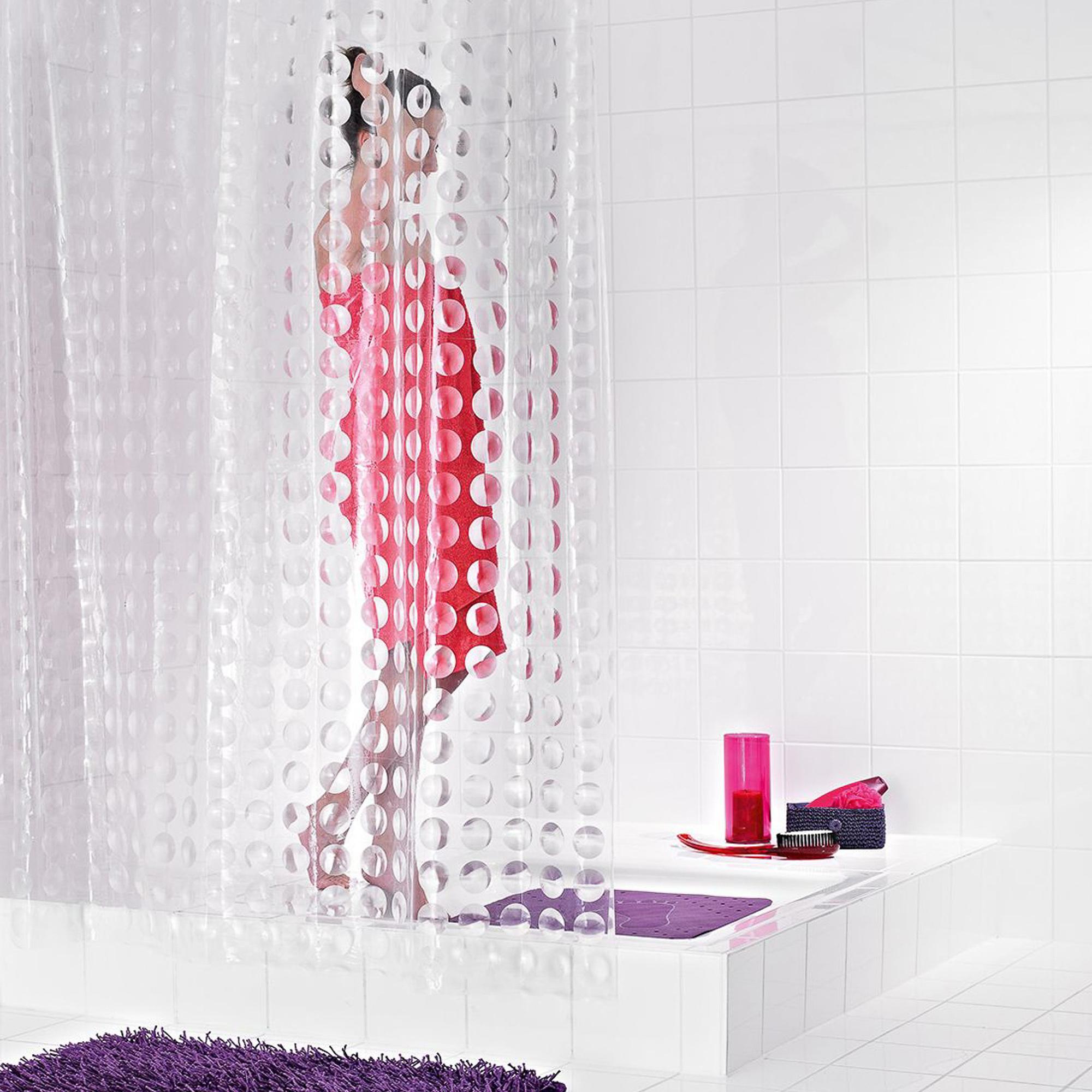 Штора для ванных комнат Loupe полупрозрачный 180*200 Ridder