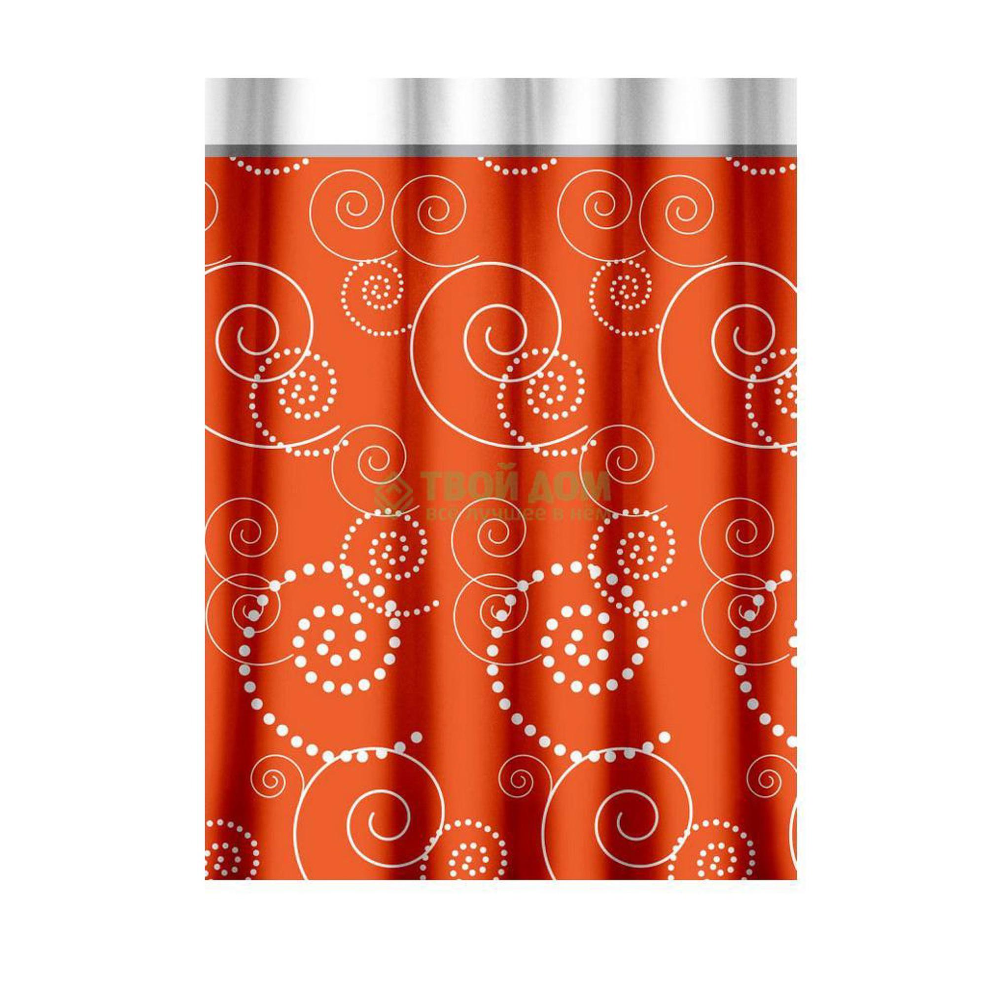 Штора для ванной комнаты Primanova Maison с спиральным рисунком (оранжевая)180х200 см стул для ванной primanova 36 26 см голубой