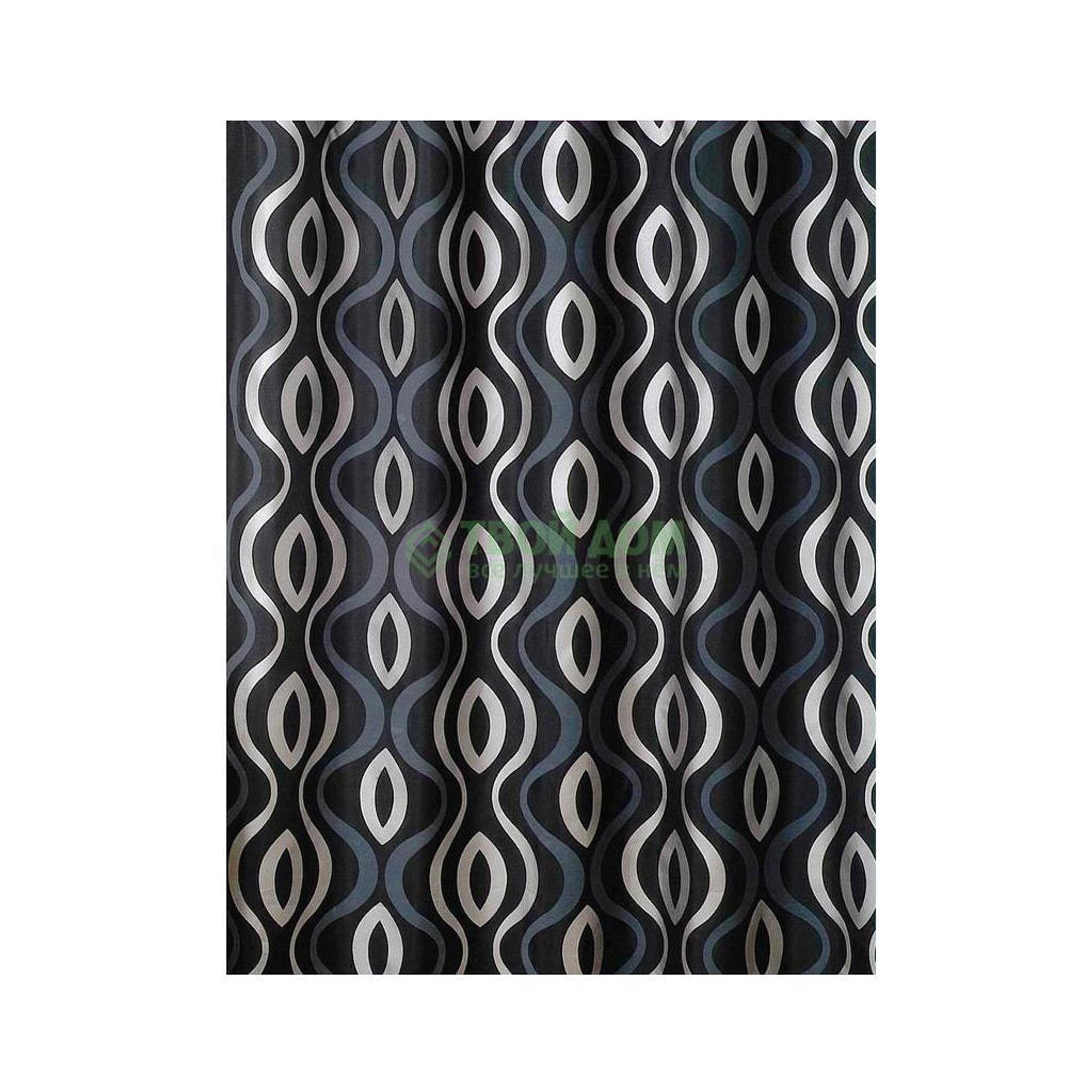 Штора для ванной комнаты Primanova Planet с волнообразным рисунком (черная) 180х200 см